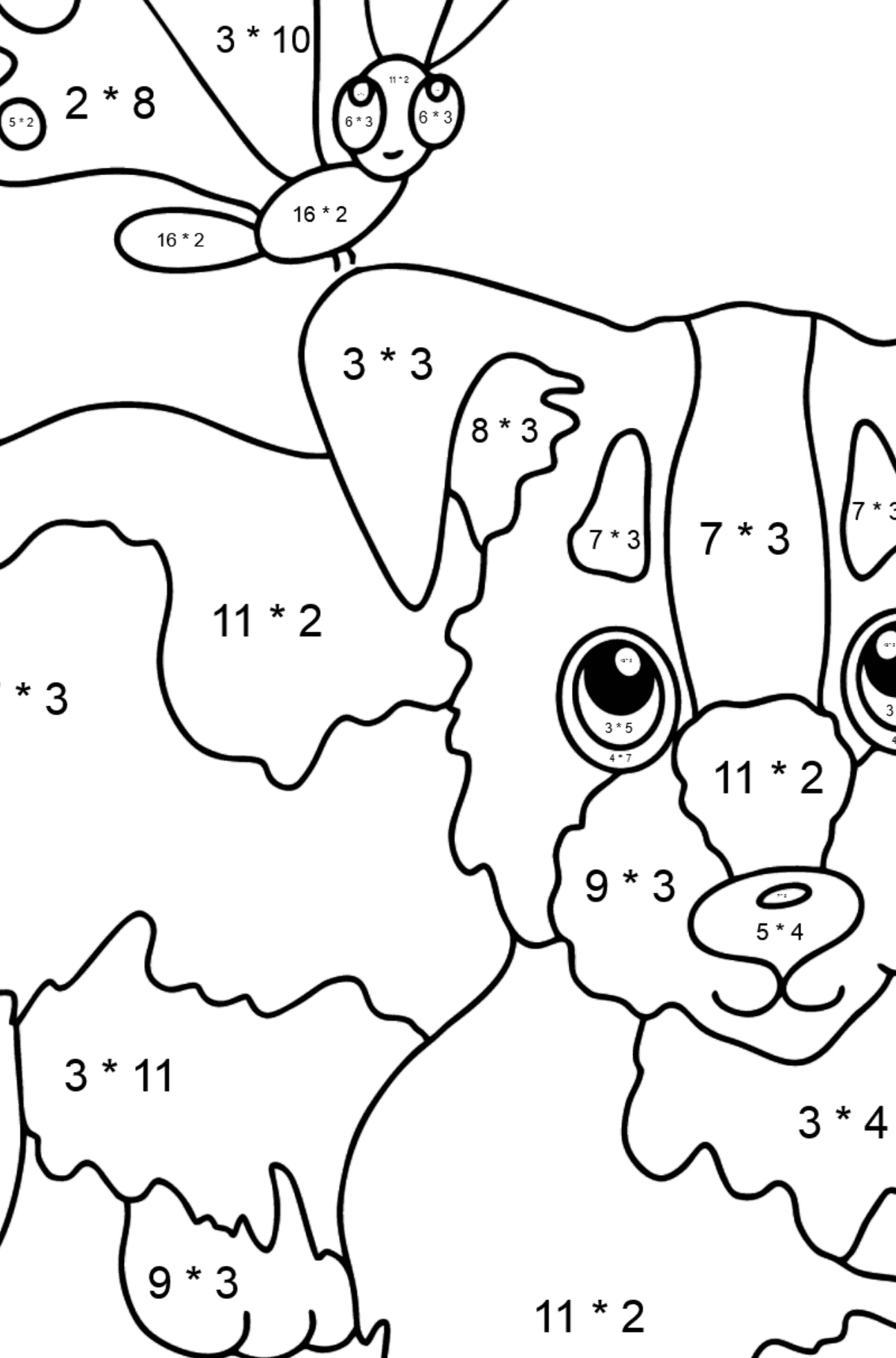 Coloring Page - A Dog is Playing with a Butterfly - Math Coloring - Multiplication for Kids