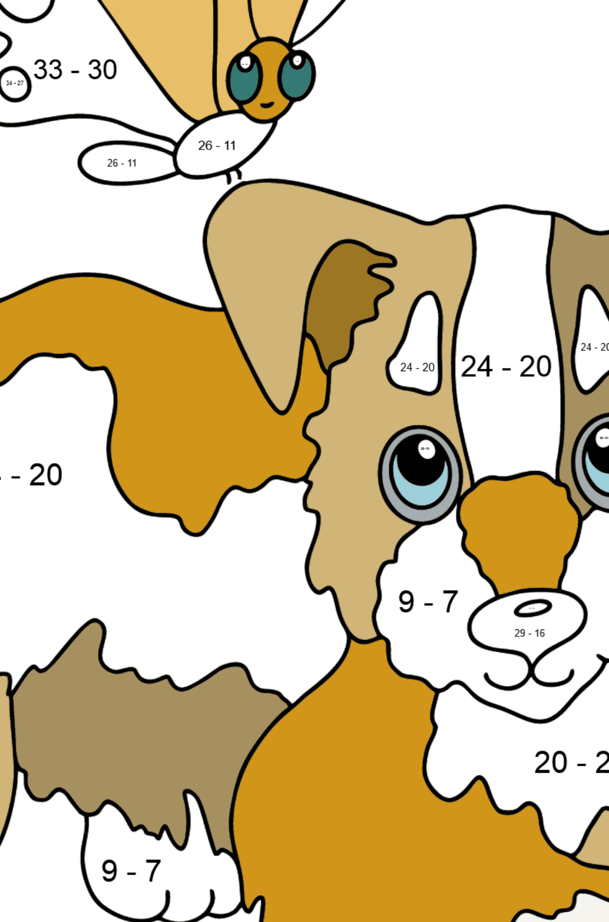 Coloring Page - A Dog is Playing with a Butterfly - Math Coloring - Subtraction for Kids