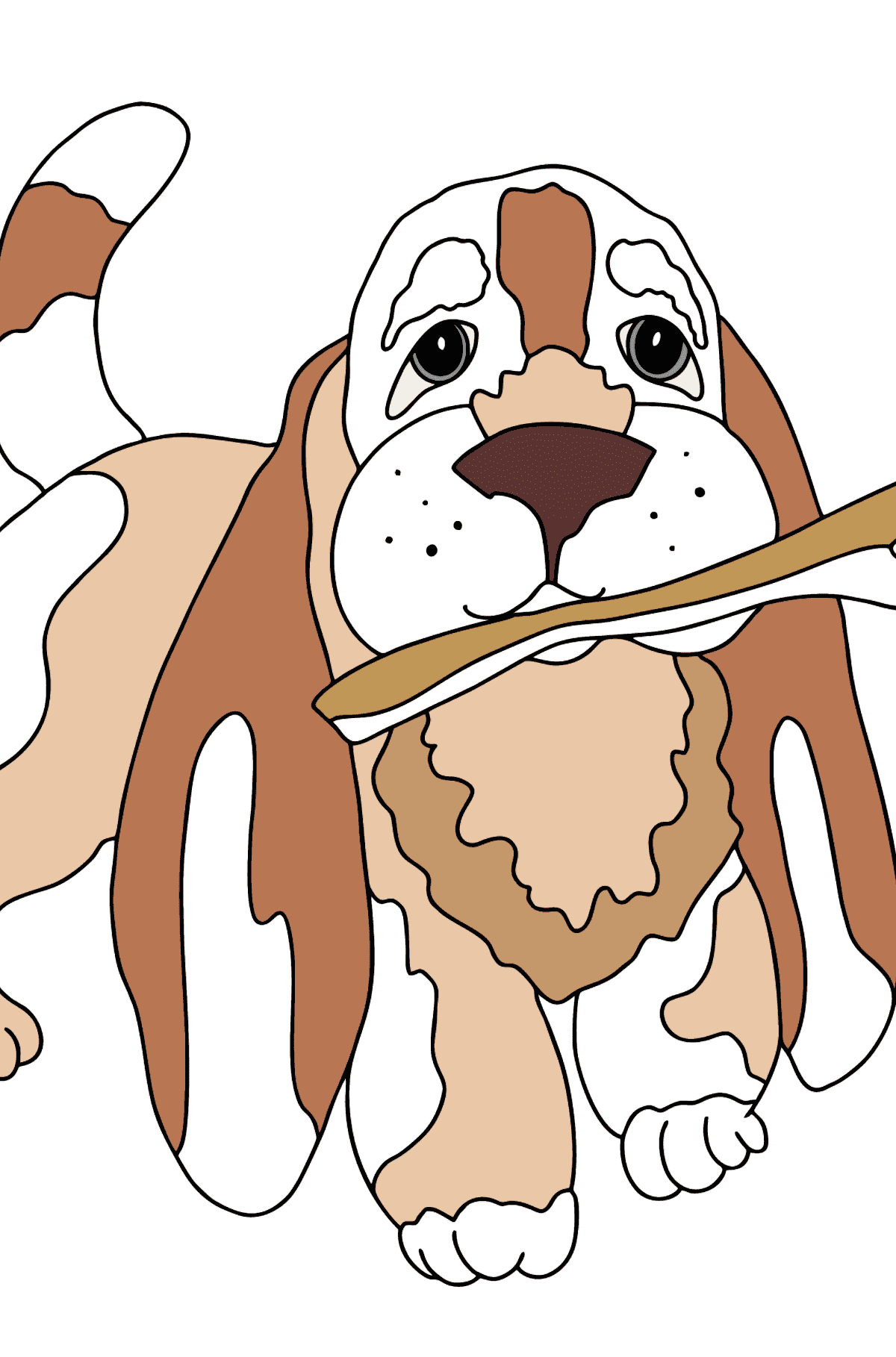 Coloring Page - A Dog is Playing with a Stick - Coloring Pages for Kids