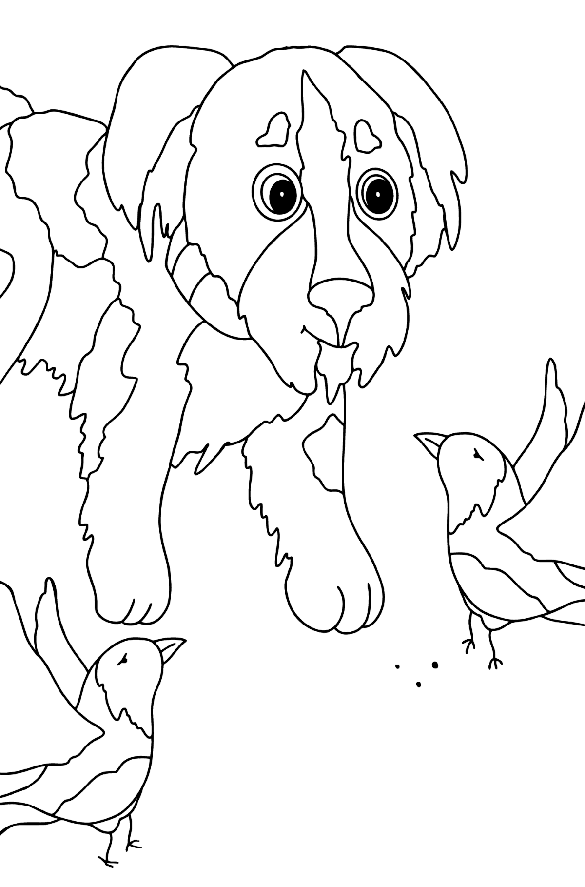 Coloring Page - A Dog is Playing with Beautiful Birds - Coloring Pages for Kids