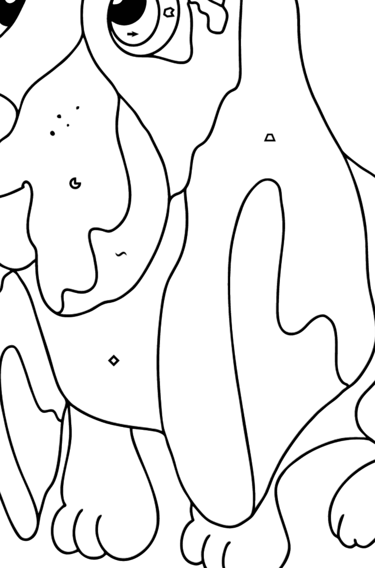 Coloring Page - A Dog is Sitting near a Bone - Coloring by Symbols and Geometric Shapes for Kids