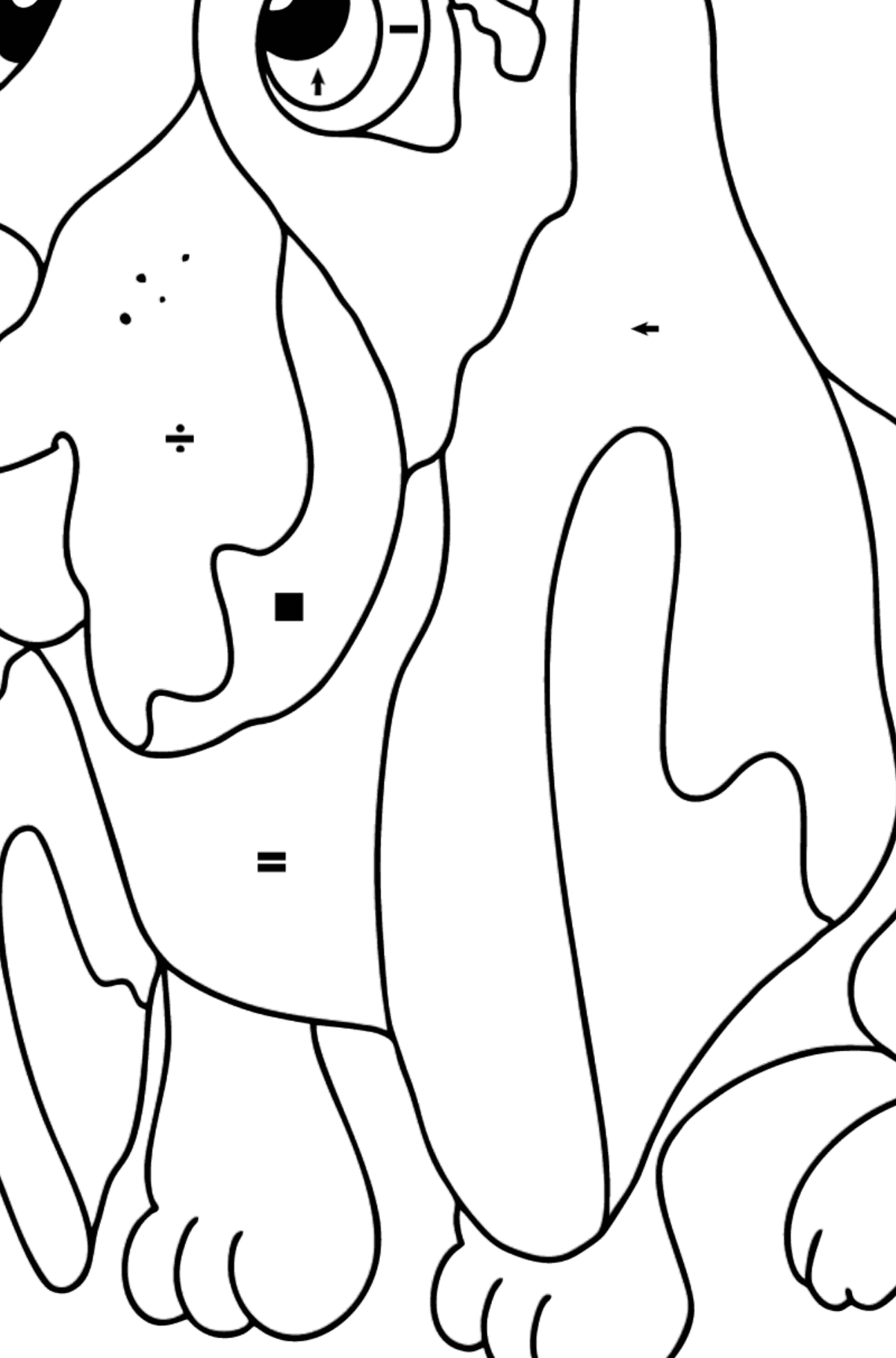 Coloring Page - A Dog is Sitting near a Bone - Coloring by Symbols for Kids