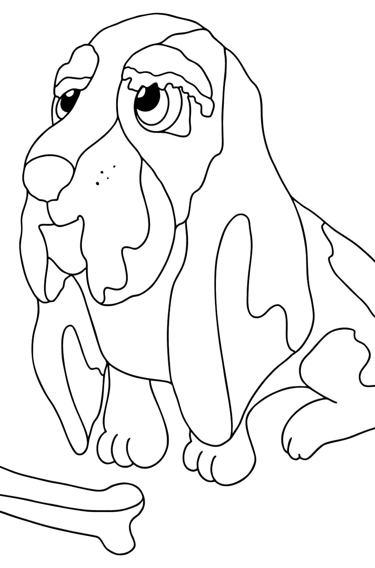 Coloring Page - A Dog is Sitting near a Bone - Coloring Pages for Kids