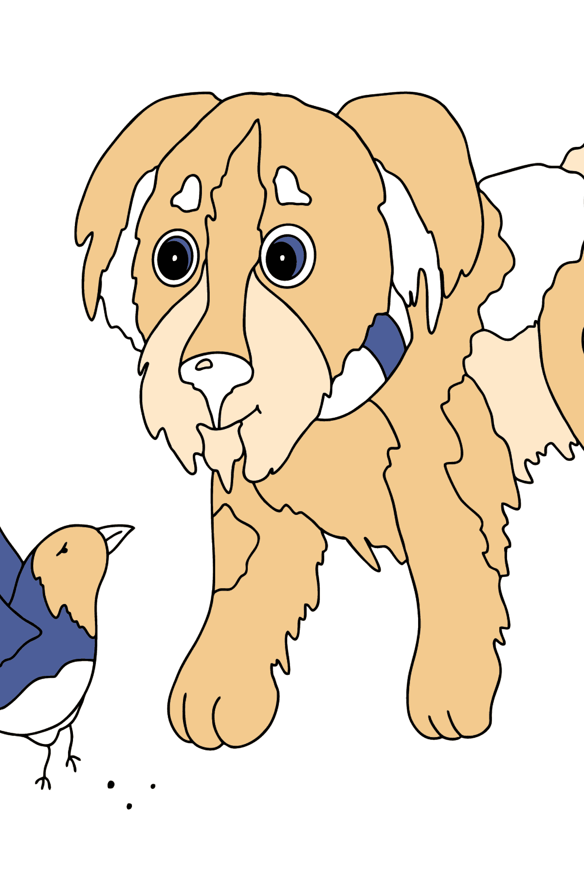 Coloring Page - A Dog is Talking to a Bird - Coloring Pages for Kids