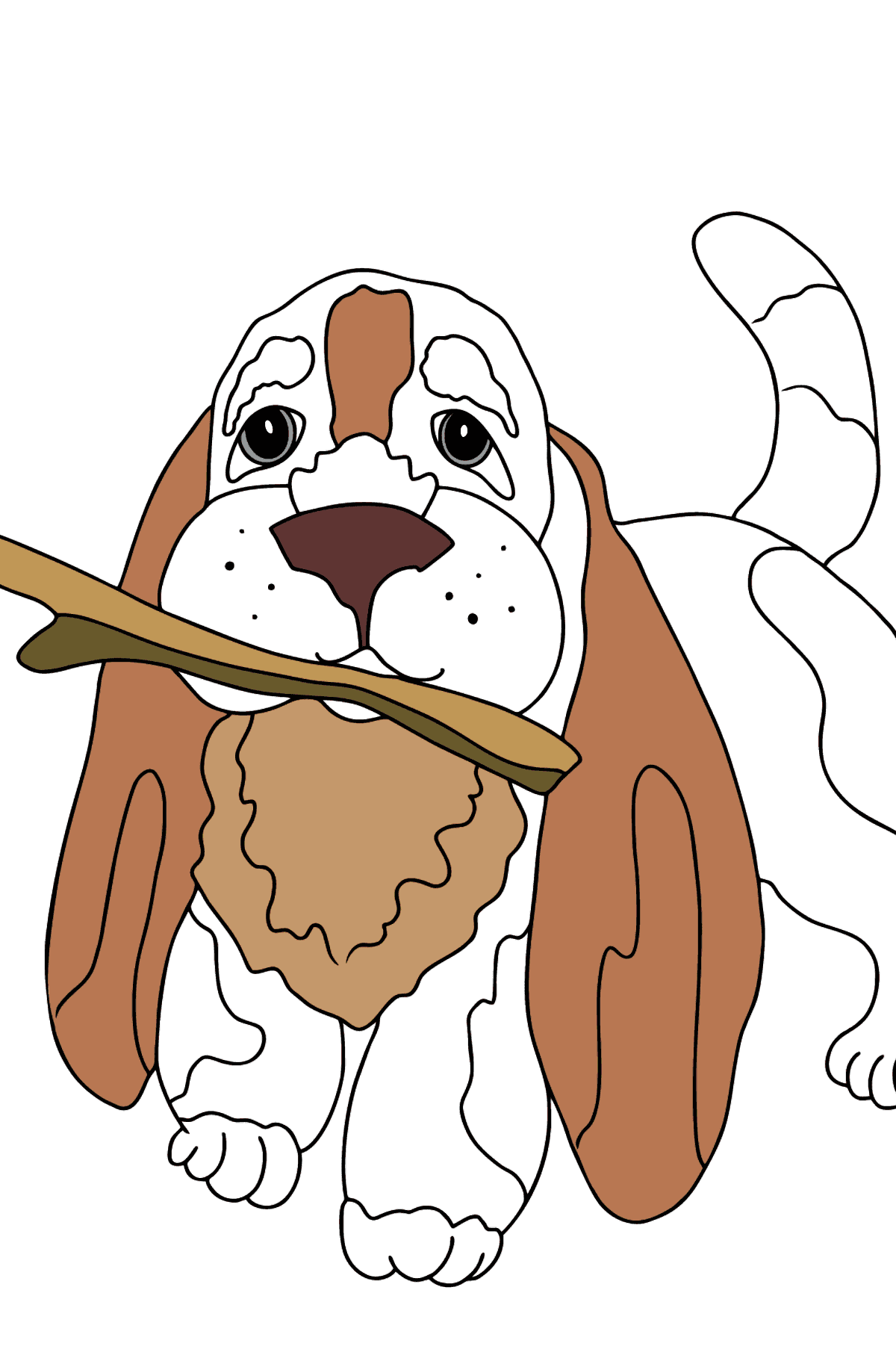Coloring Page - A Dog is Waiting for Its Owner with a Stick - Coloring Pages for Kids