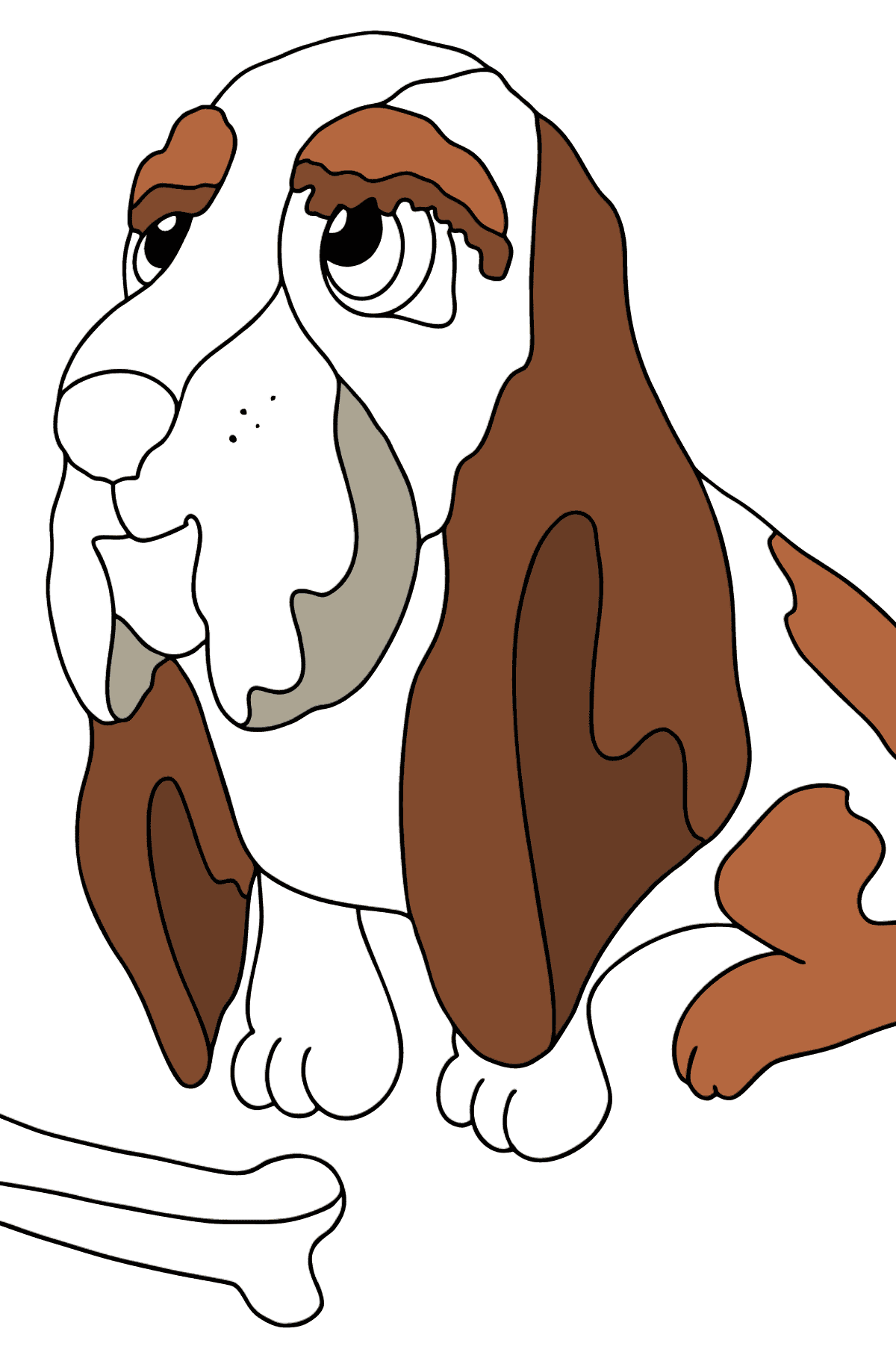 Coloring Page - A Dog with a Bone - Coloring Pages for Kids