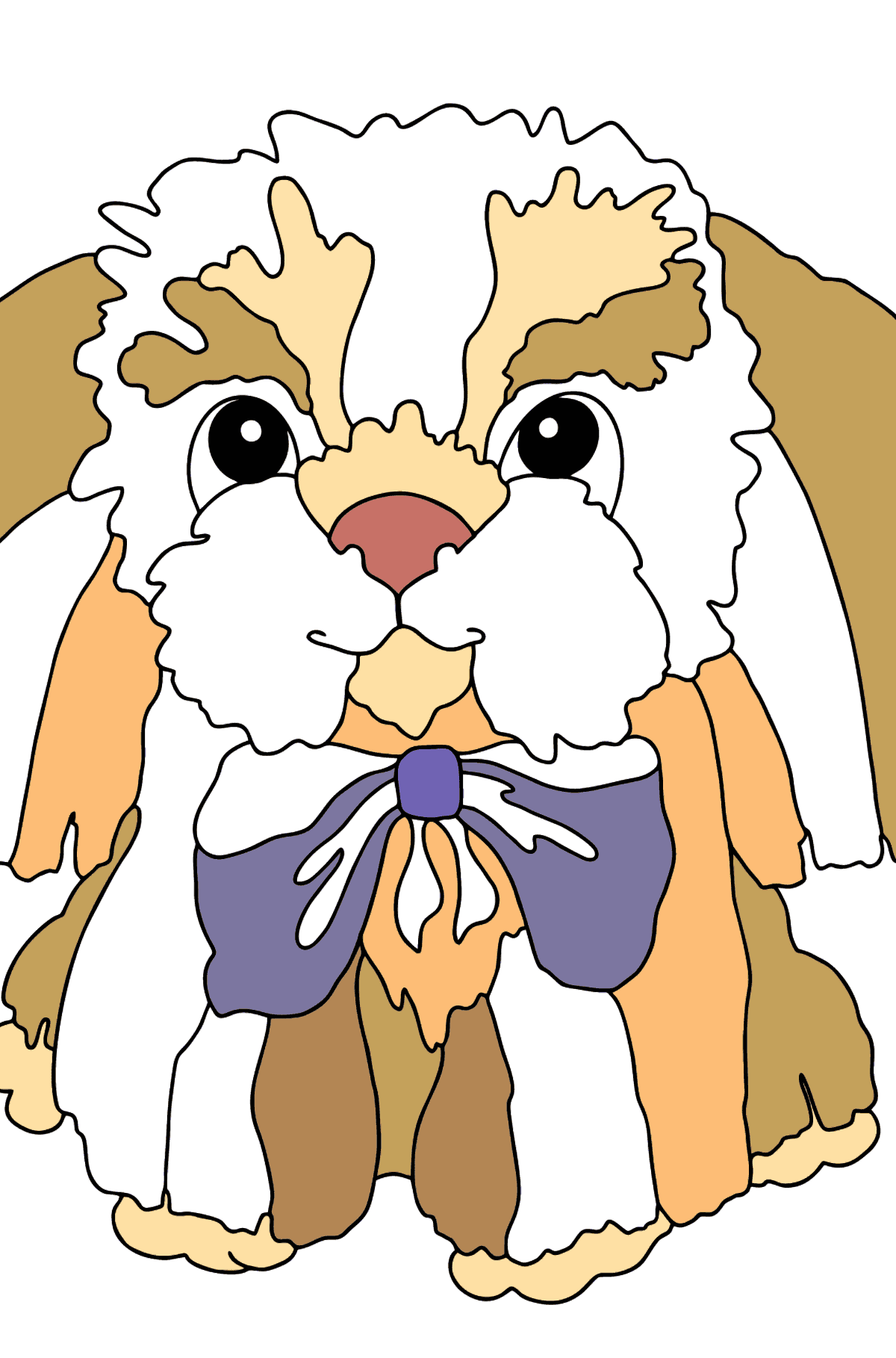 Coloring Page - A Dog with a Bow - Coloring Pages for Kids