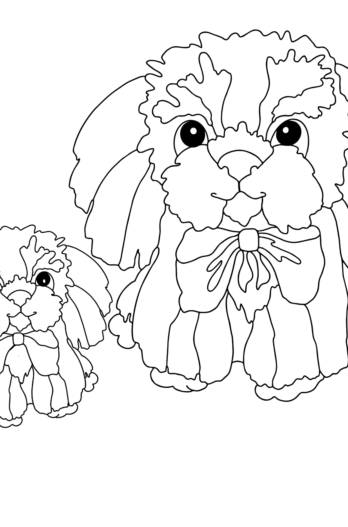 Coloring Page - A Puppy with Its Mom - Coloring Pages for Kids