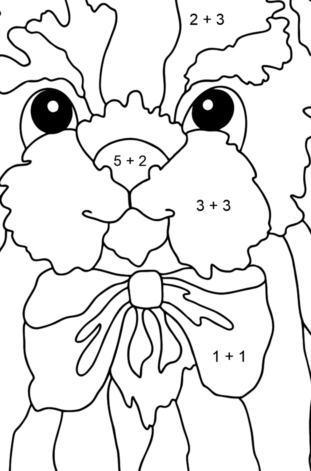Coloring Page - A Young Fluffy Dog - Math Coloring - Addition for Kids