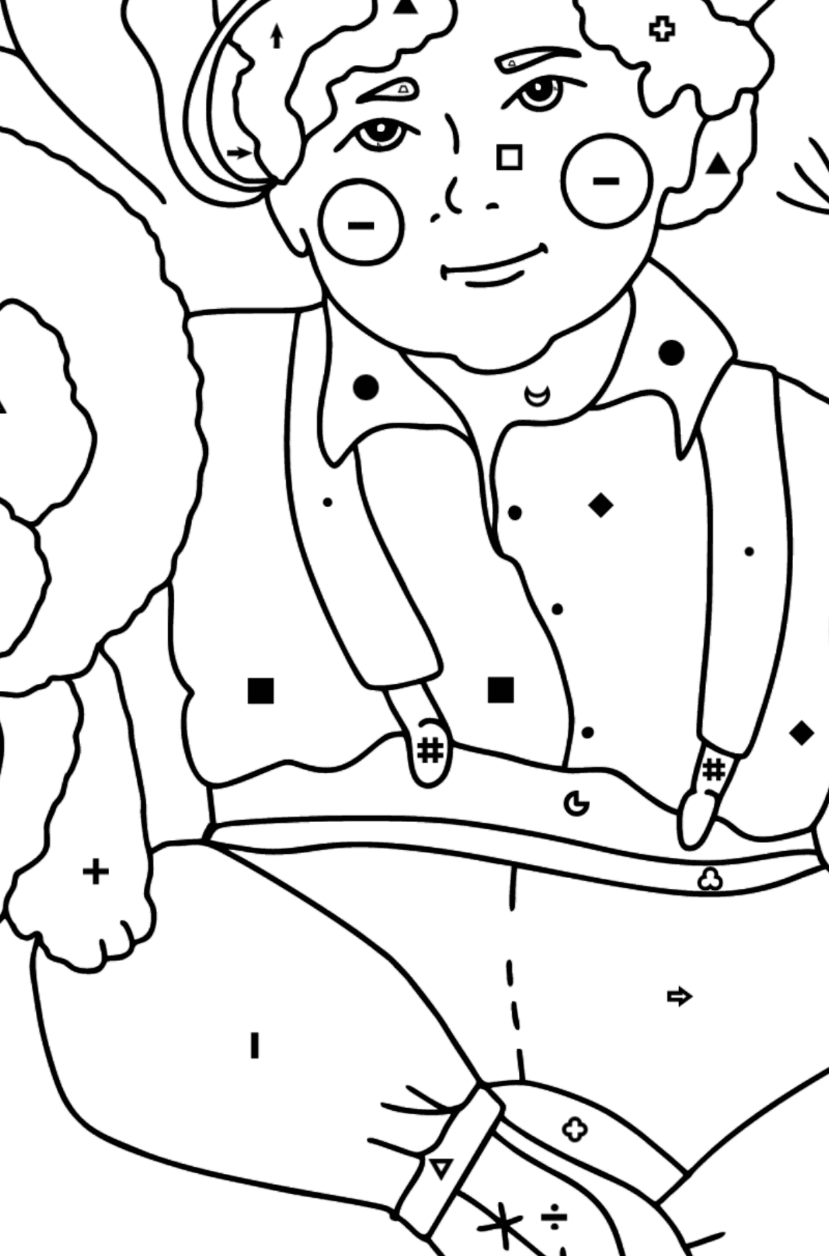 Boy and Biron coloring page - Coloring by Symbols and Geometric Shapes for Kids