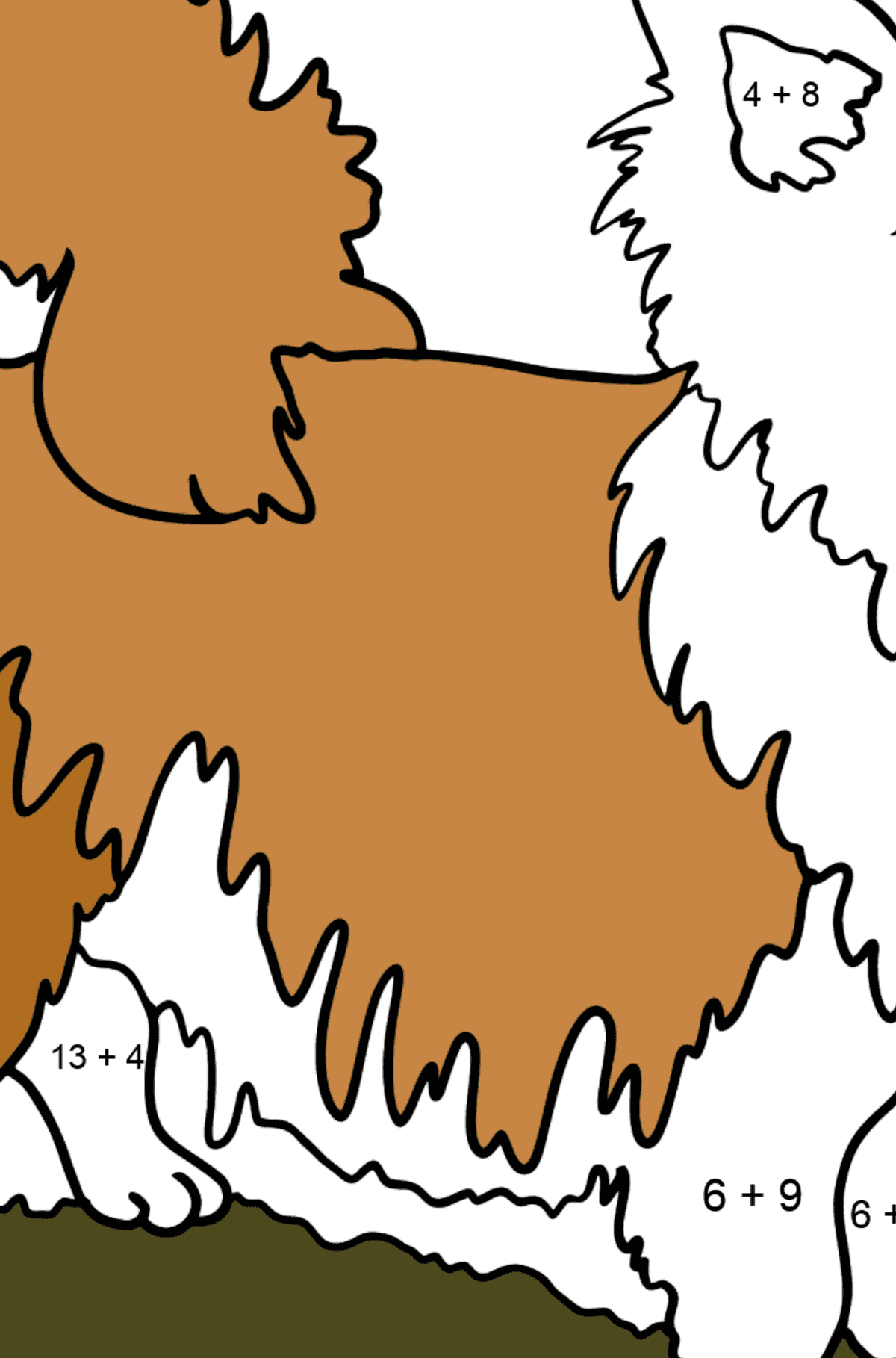 Chihuahua coloring page - Math Coloring - Addition for Kids