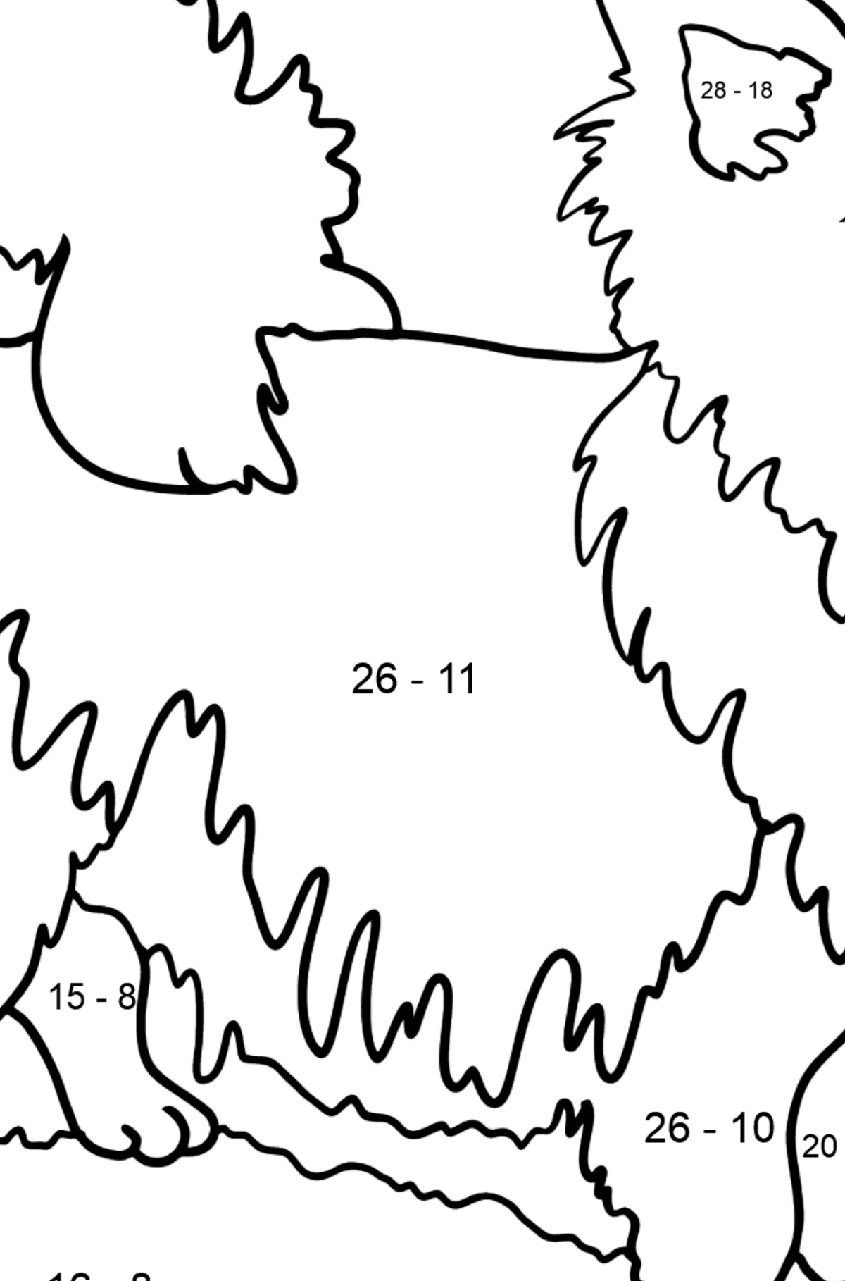 Chihuahua coloring page - Math Coloring - Subtraction for Kids