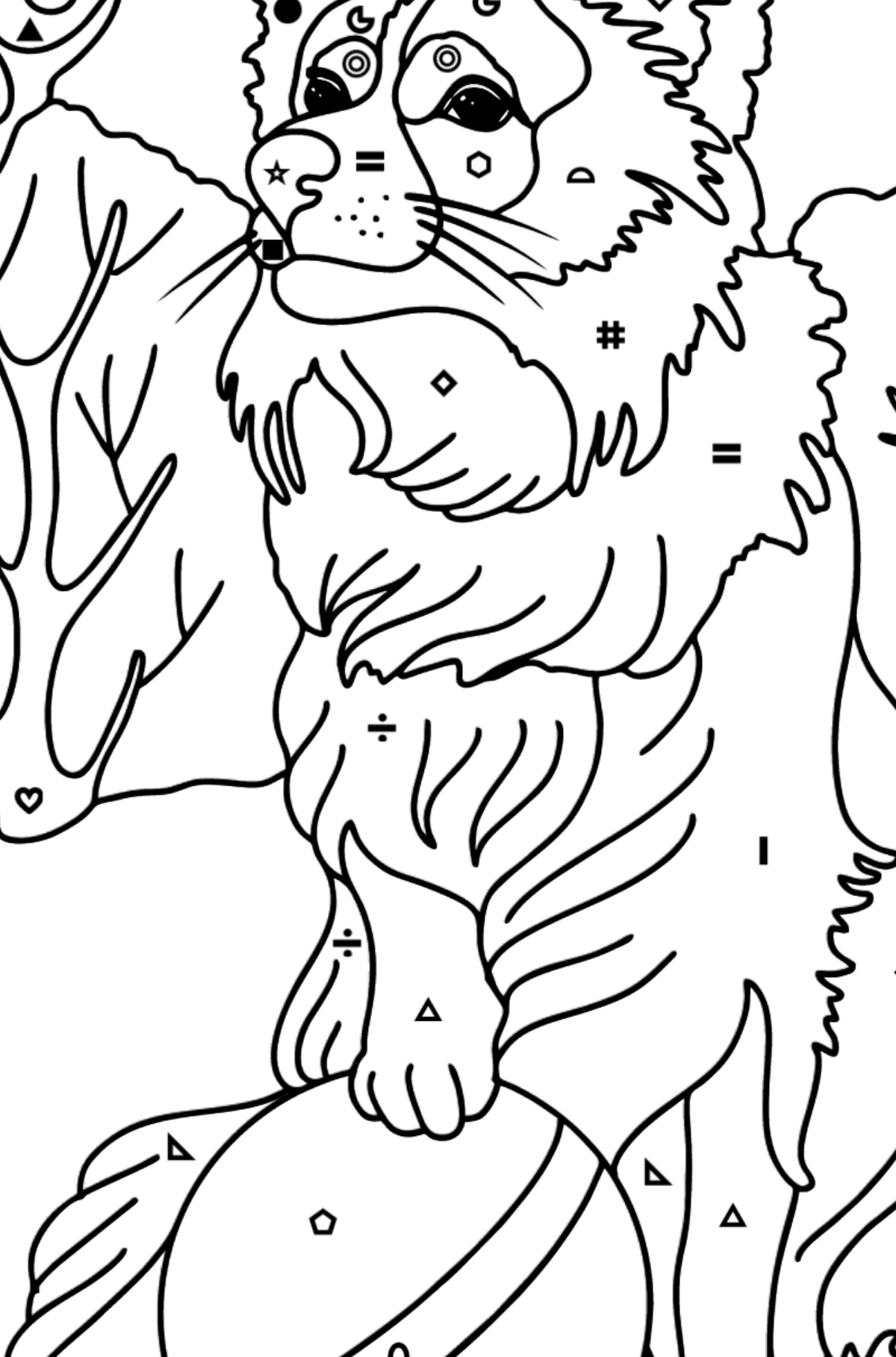 Collie coloring page - Coloring by Symbols and Geometric Shapes for Kids