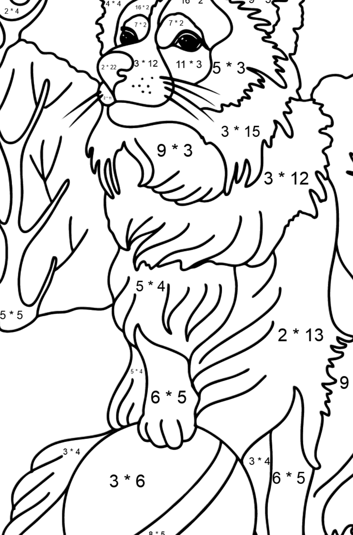 Collie coloring page - Math Coloring - Multiplication for Kids