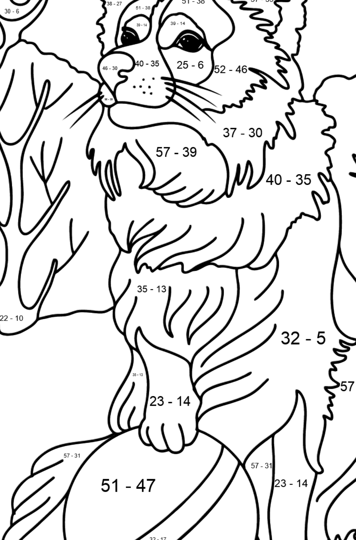 Collie coloring page - Math Coloring - Subtraction for Kids