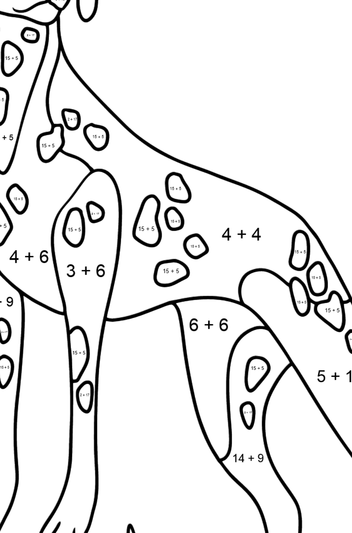 Dalmatian coloring page - Math Coloring - Addition for Kids
