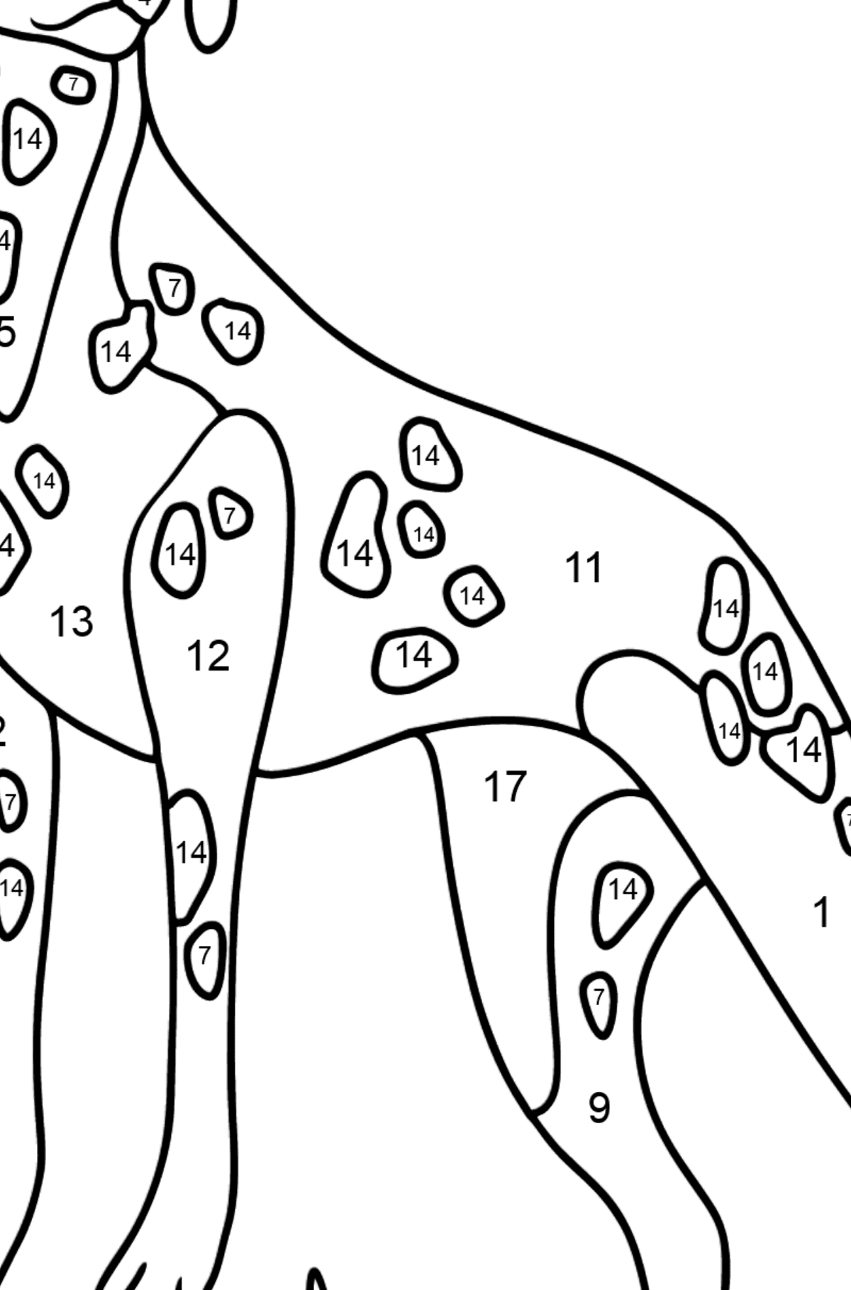 Dalmatian coloring page - Coloring by Numbers for Kids