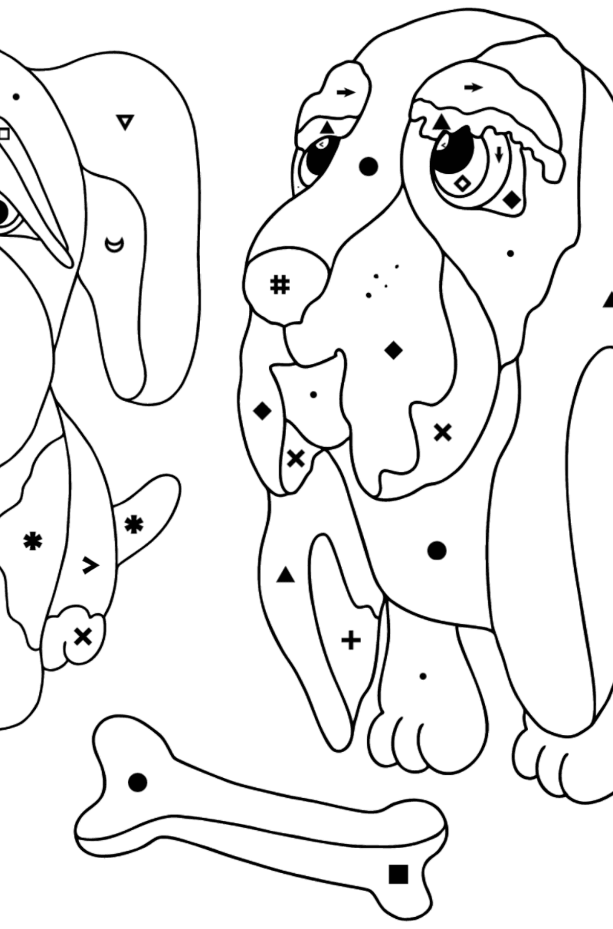 Coloring Page - Dogs are Looking at a Bone - Coloring by Symbols for Kids