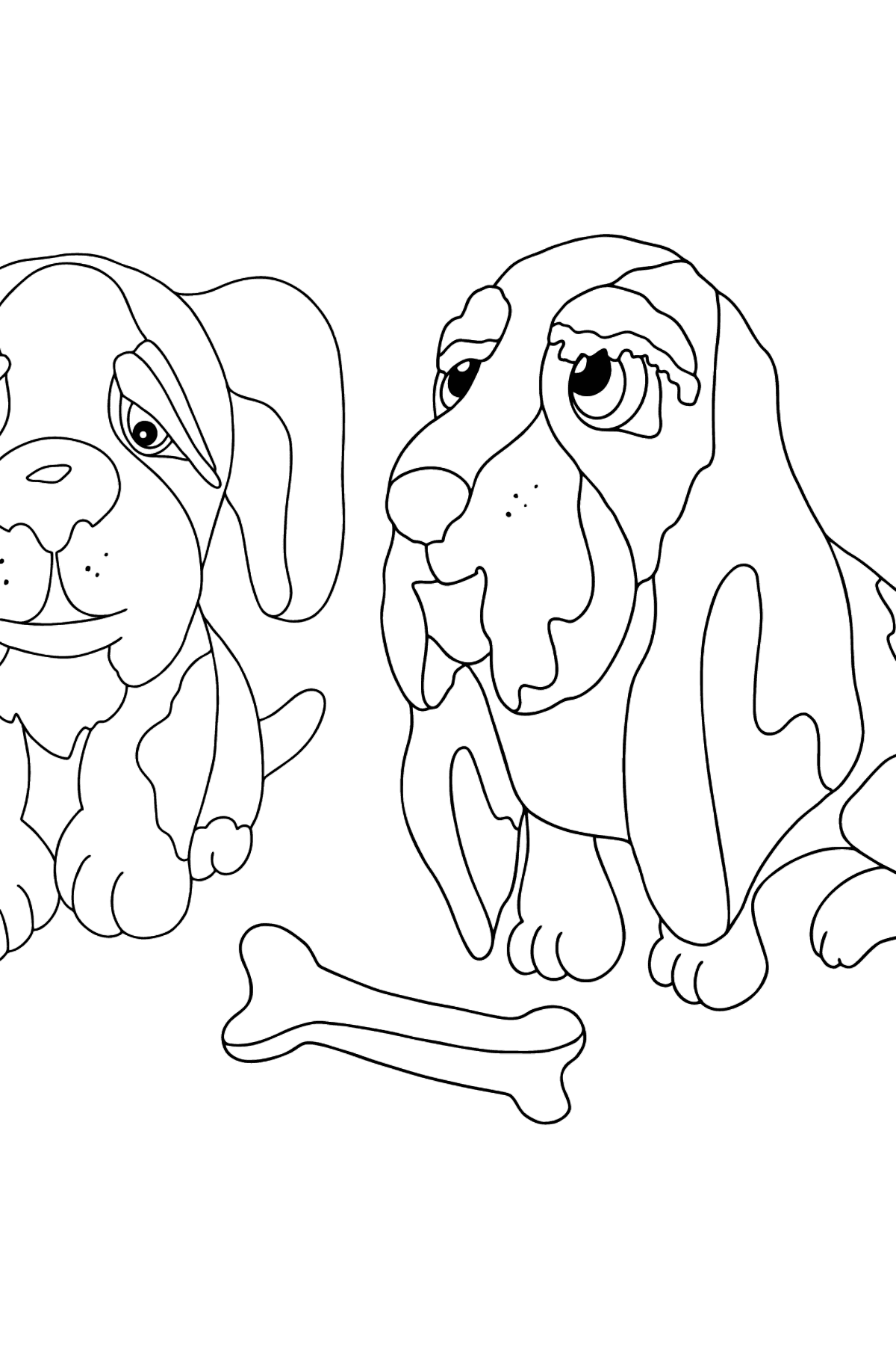 Coloring Page - Dogs are Looking at a Bone - Coloring Pages for Kids
