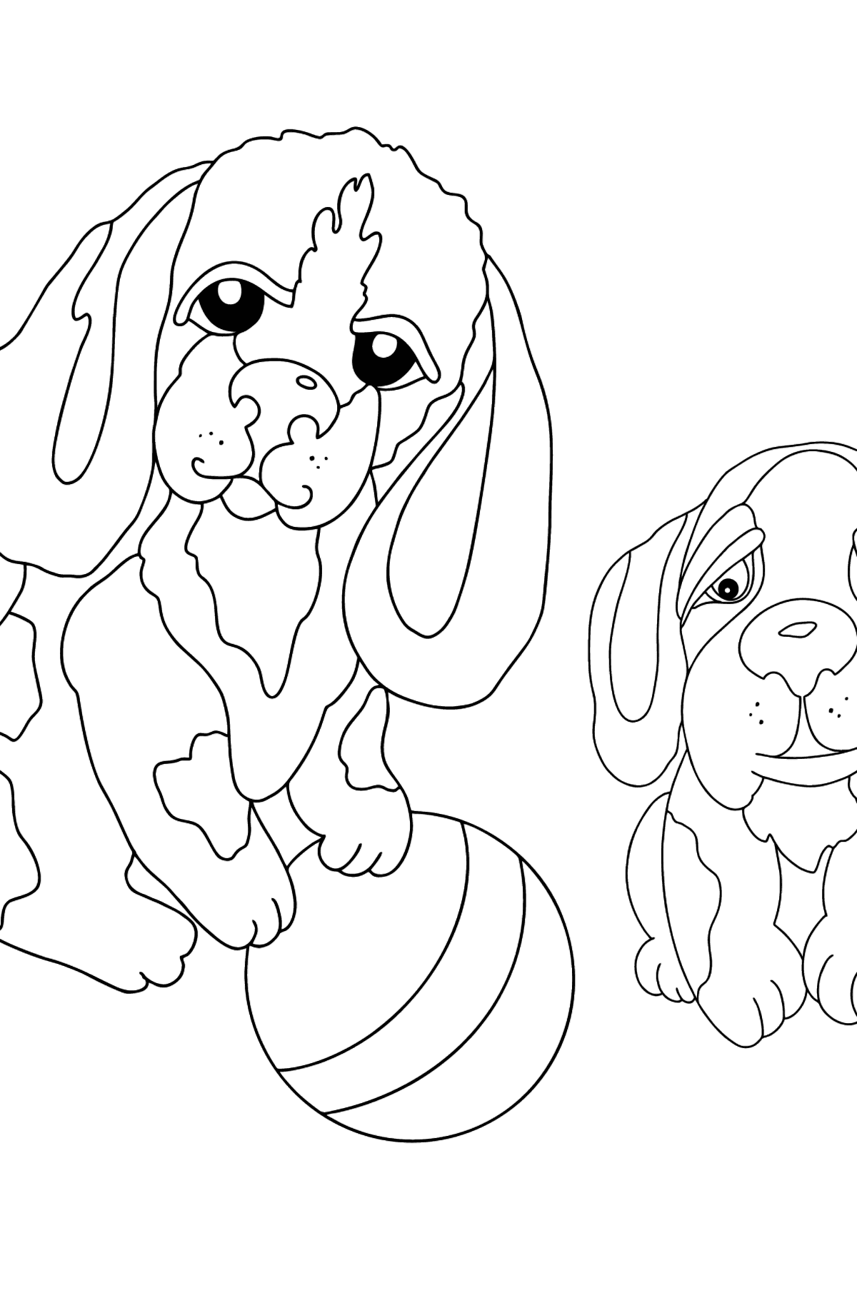 Coloring Page - Dogs are Playing with a Ball - Coloring Pages for Kids