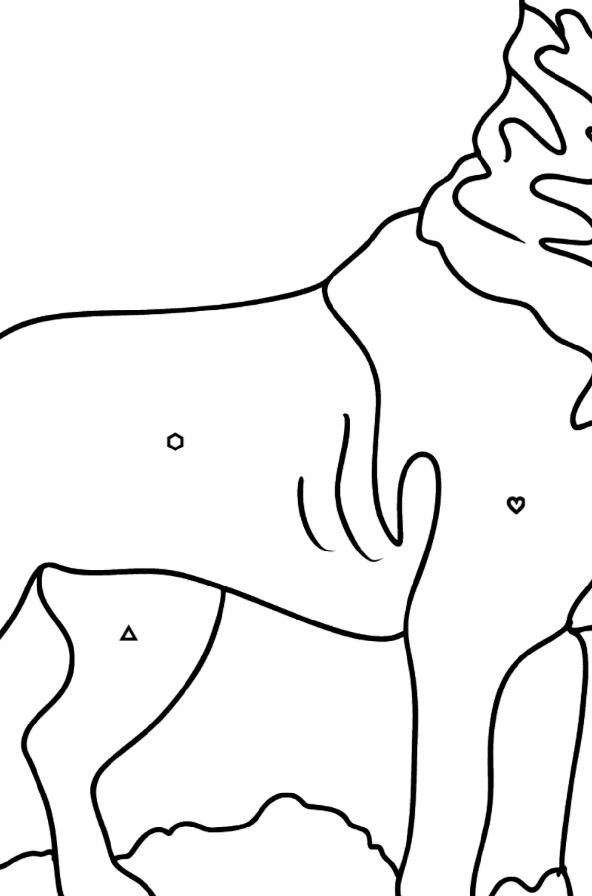 Rottweiler coloring page - Coloring by Geometric Shapes for Kids