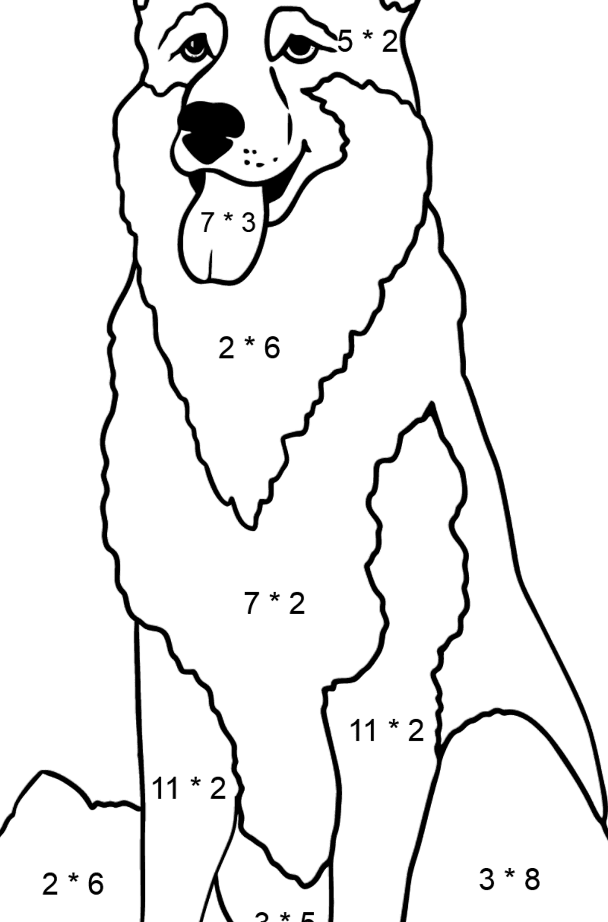 Shepherd coloring page - Math Coloring - Multiplication for Kids