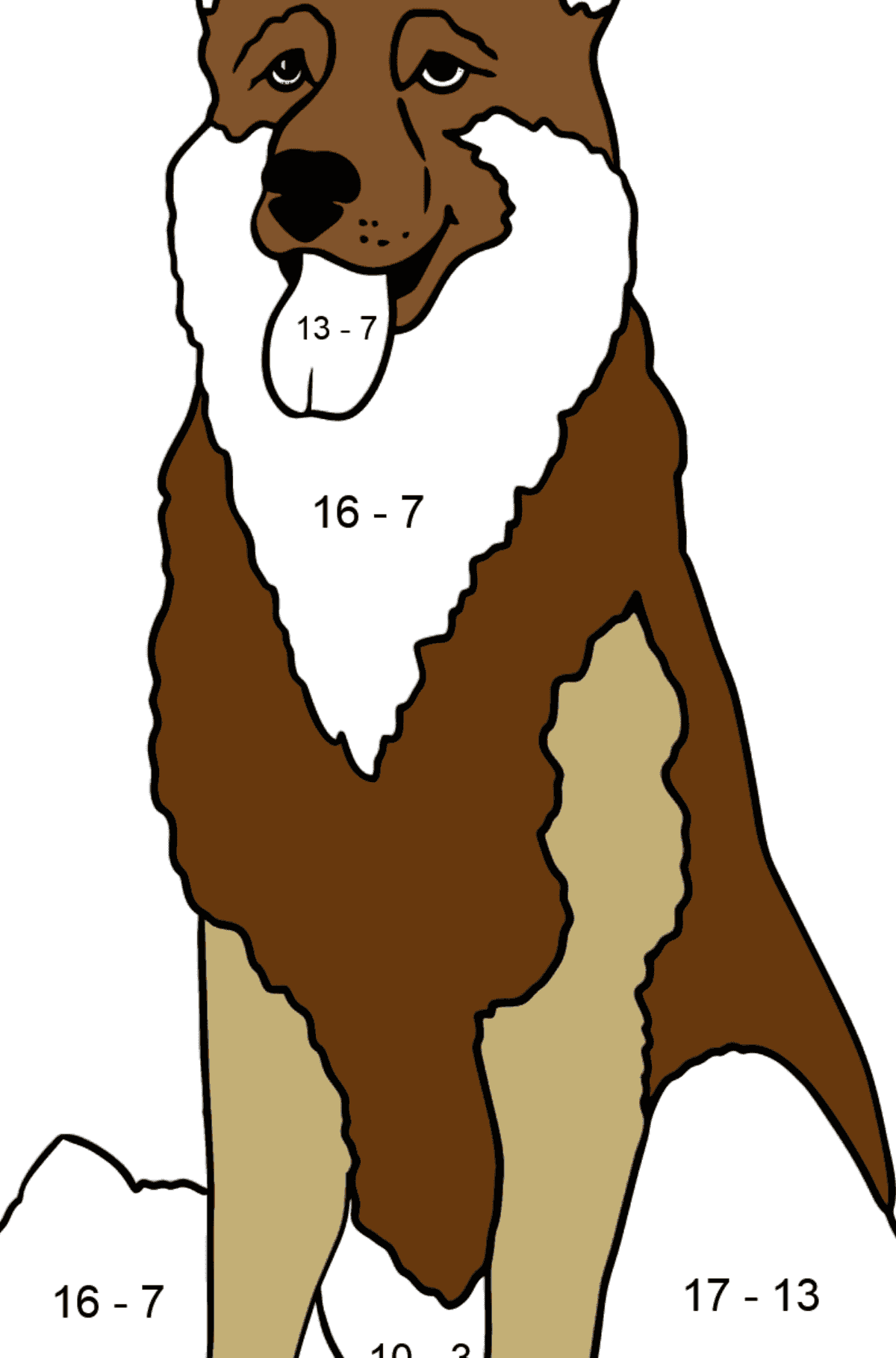 Shepherd coloring page - Math Coloring - Subtraction for Kids