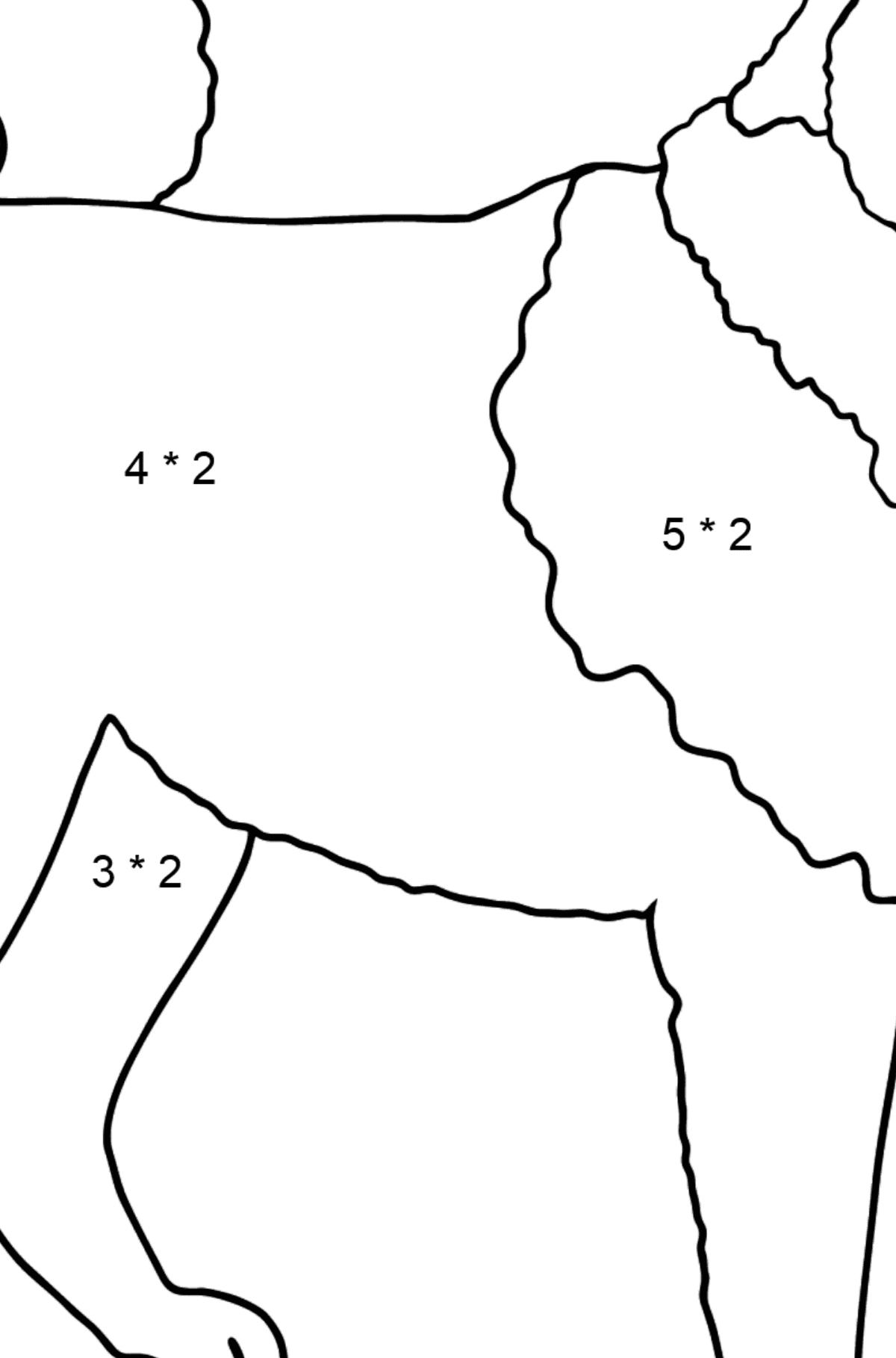 Siberian Husky coloring page - Math Coloring - Multiplication for Kids