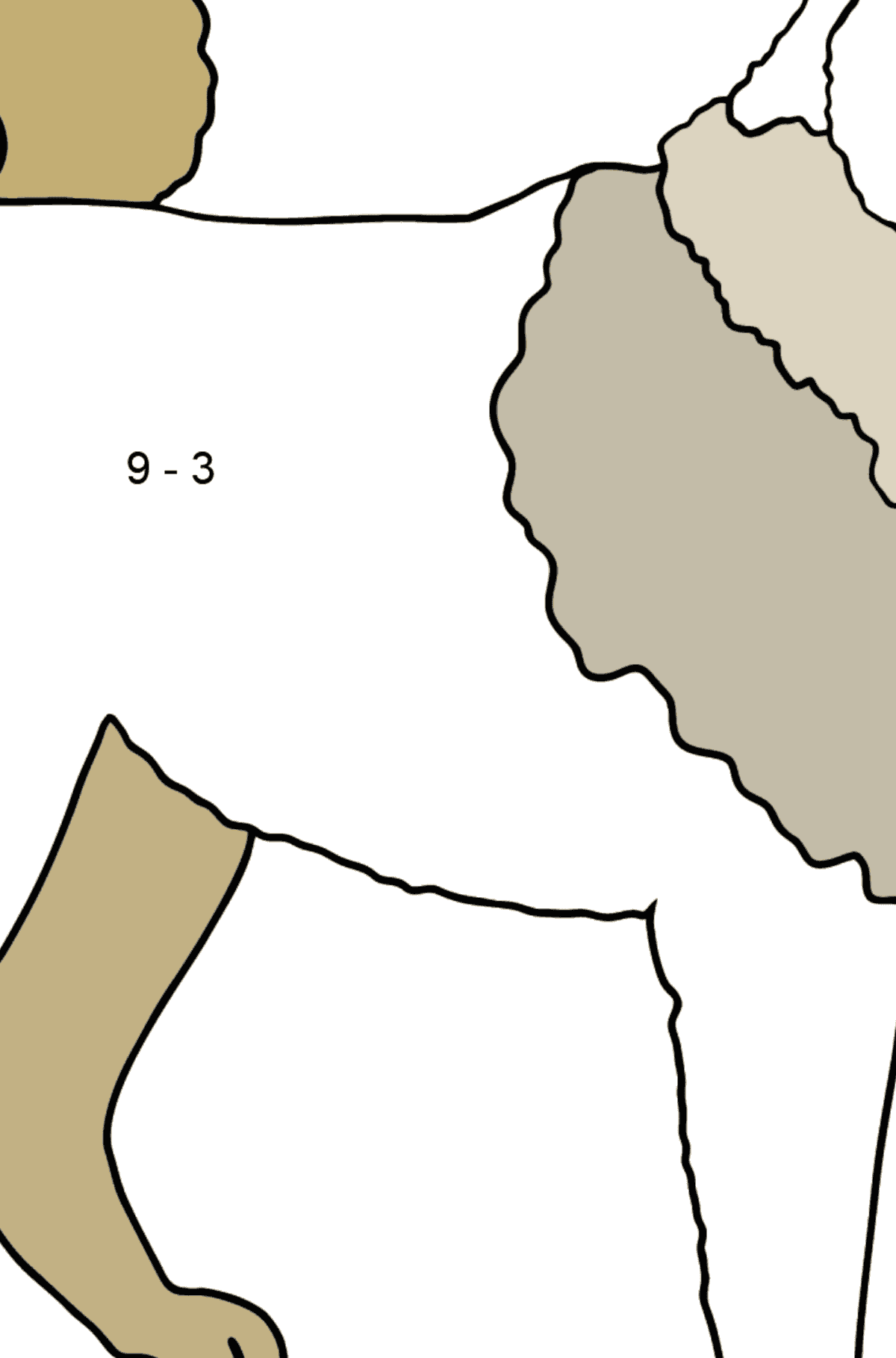 Siberian Husky coloring page - Math Coloring - Subtraction for Kids