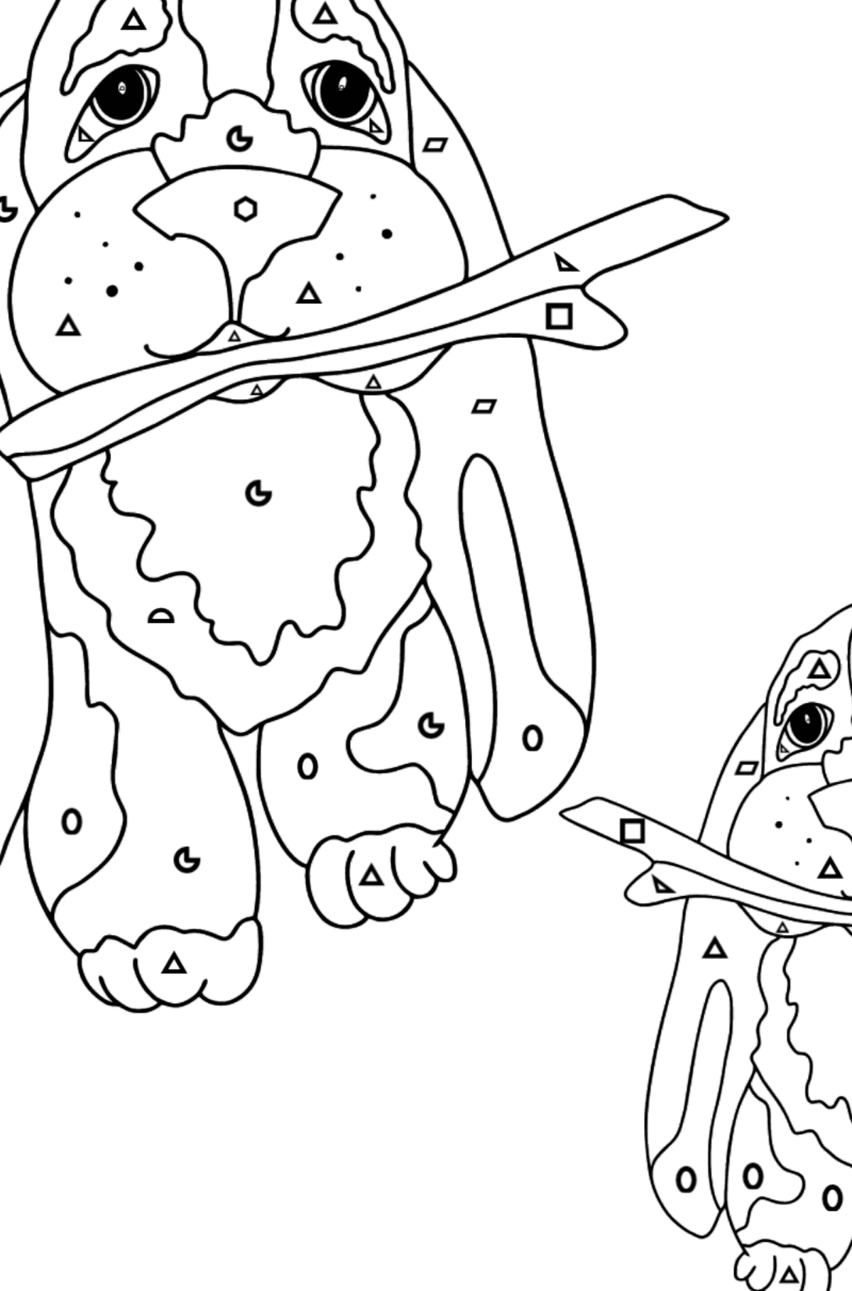 Coloring Page - Two Dogs are Playing with Sticks - Coloring by Geometric Shapes for Kids