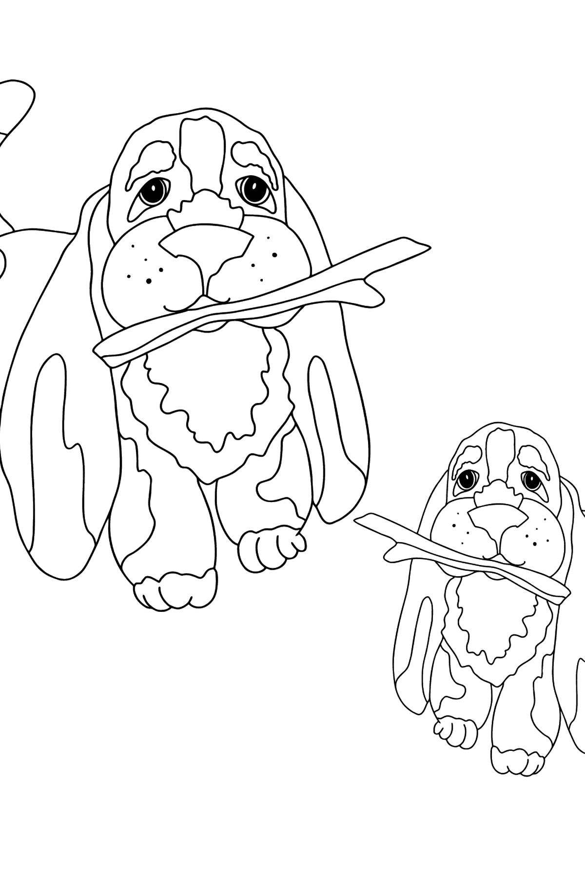 Coloring Page - Two Dogs are Playing with Sticks - Coloring Pages for Kids