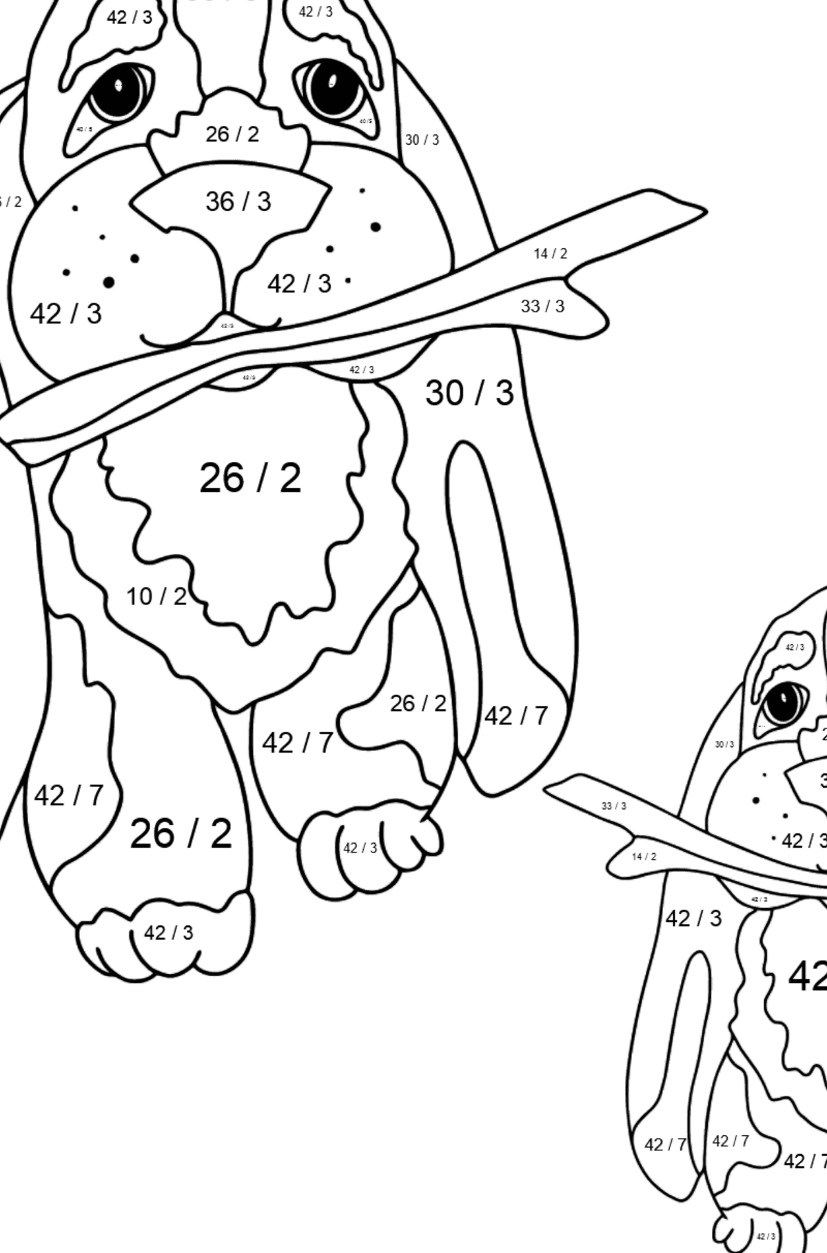 Coloring Page - Two Dogs are Playing with Sticks - Math Coloring - Division for Kids