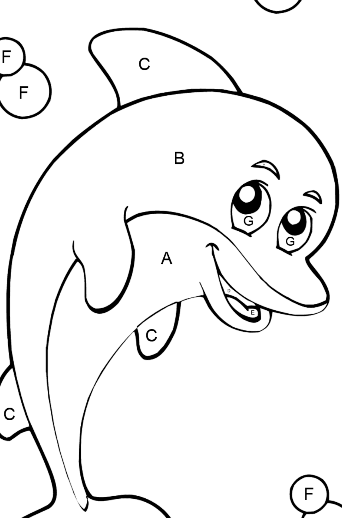 Coloring page with a Cartoon dolphin - Coloring by Letters for Kids