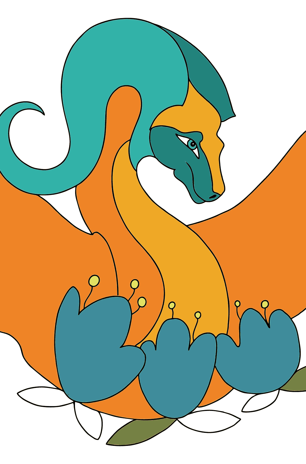 Coloring Page - A Dragon in Orange - Coloring Pages for Children
