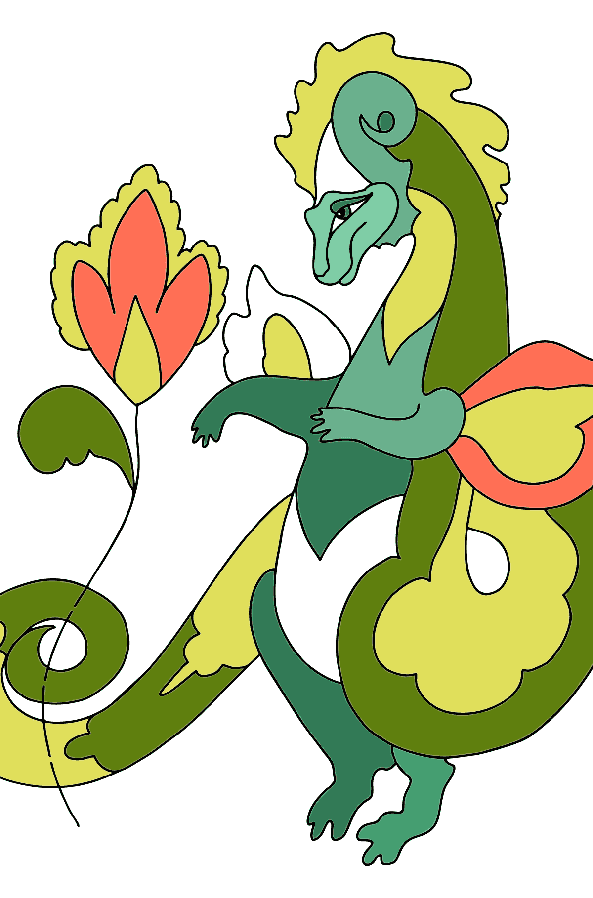 Coloring Page - A Dragon is Admiring a Flower - Coloring Pages for Children