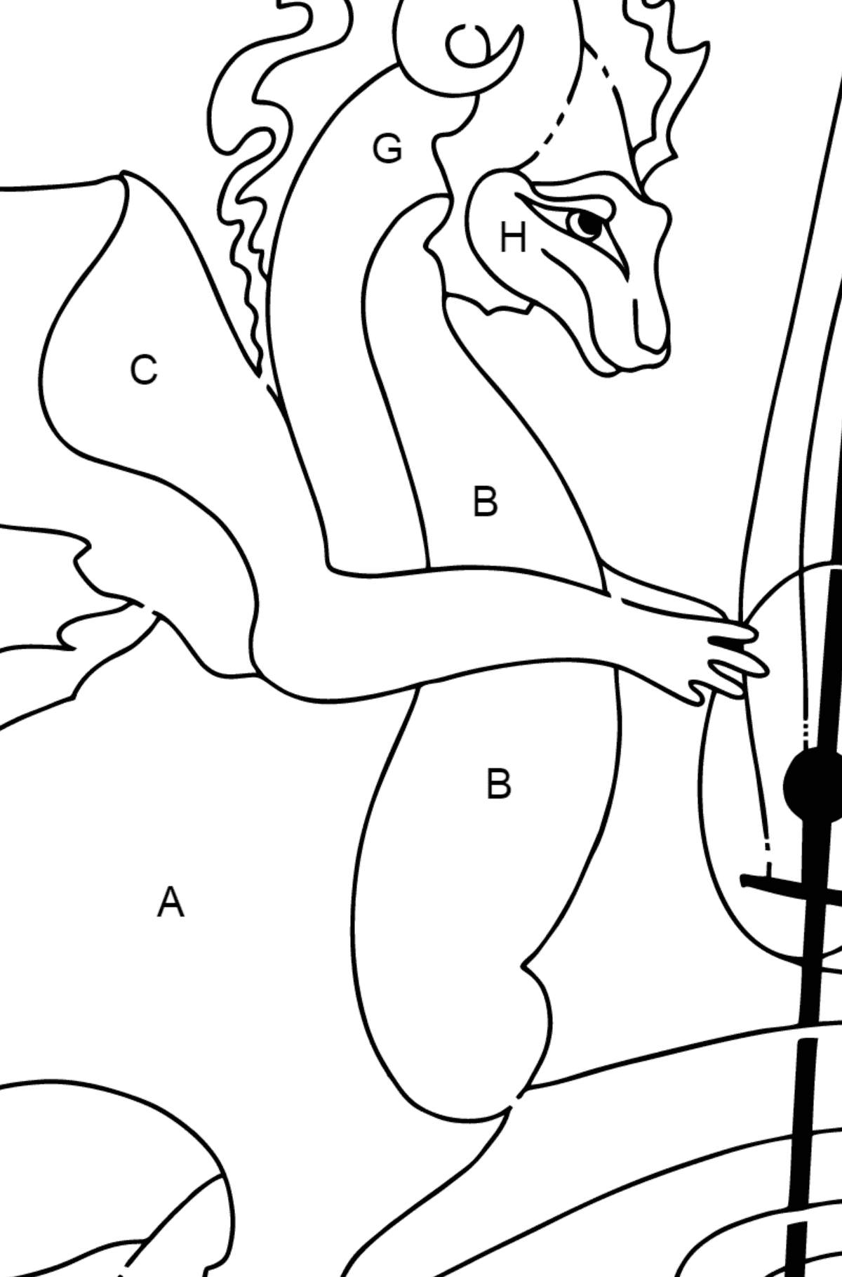 Coloring Page - A Dragon is Composing Music - Coloring by Letters for Kids