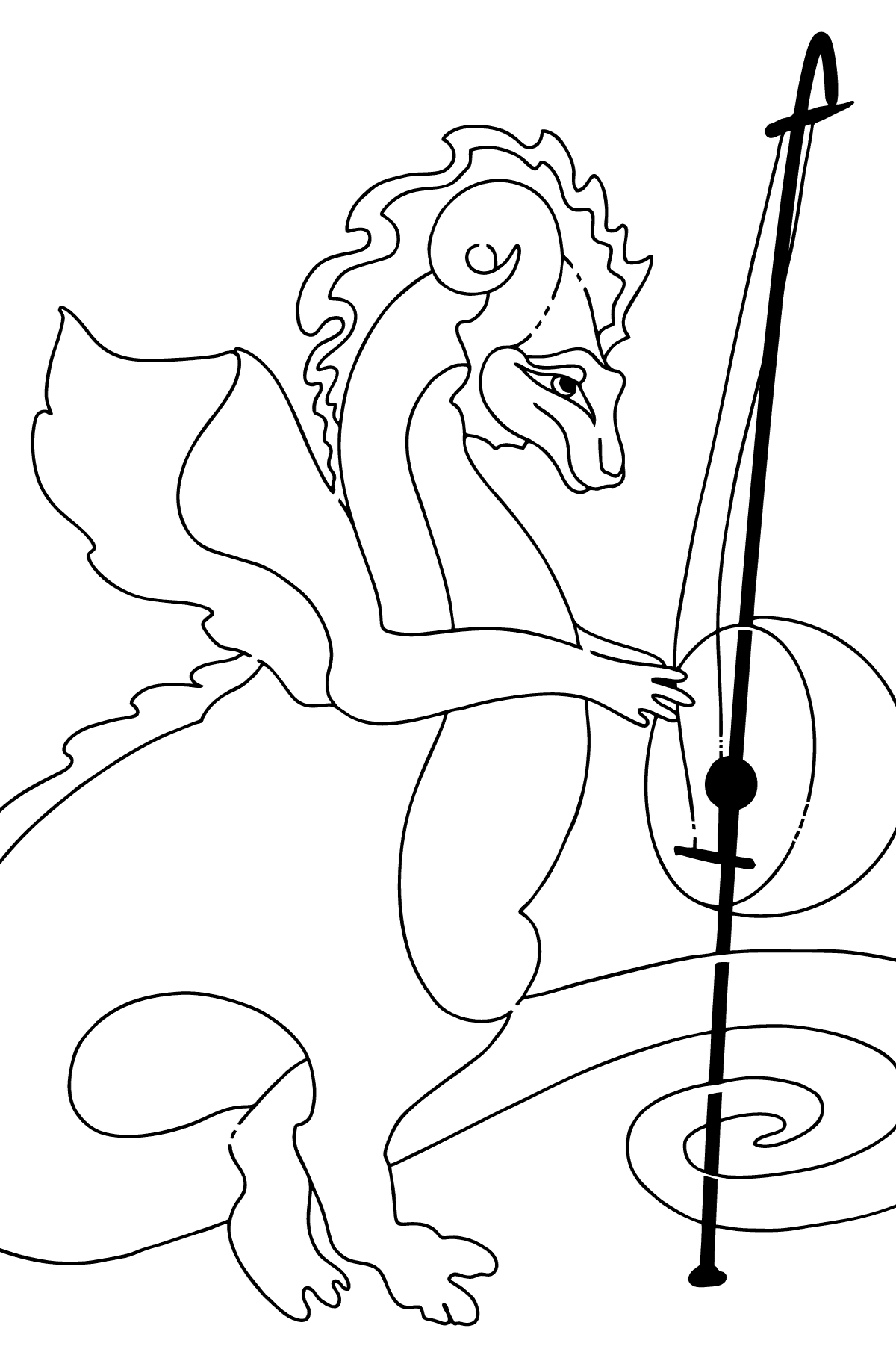 Coloring Page - A Dragon is Composing Music - Coloring Pages for Children