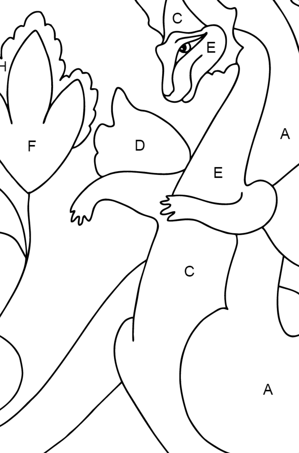 Coloring Page - A Dragon is Happy about the Find - Coloring by Letters for Children