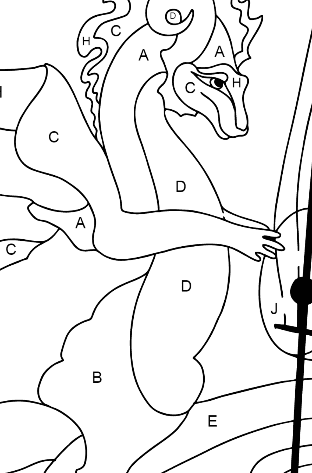 Coloring Page - A Dragon is Playing a Musical Instrument - Coloring by Letters for Children
