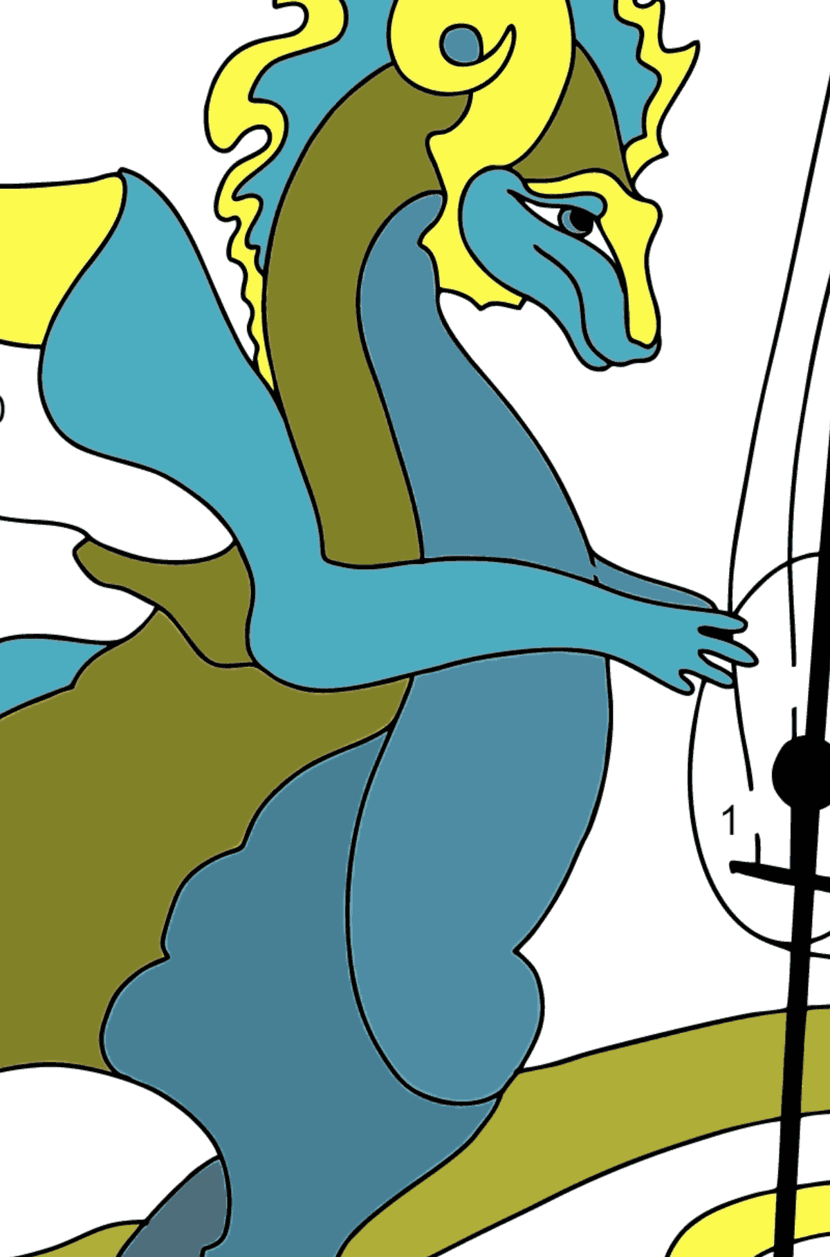 Coloring Page - A Dragon is Playing a Musical Instrument - Coloring by Numbers for Children
