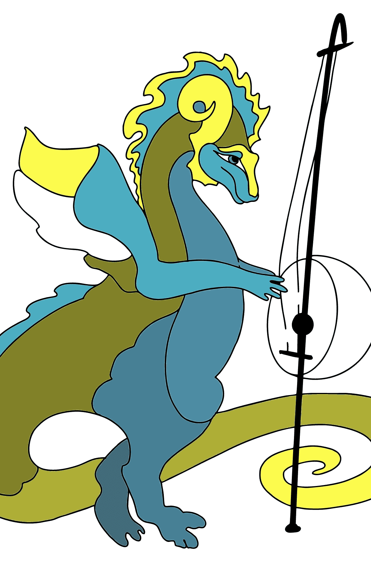Coloring Page - A Dragon is Playing a Musical Instrument - Coloring Pages for Kids