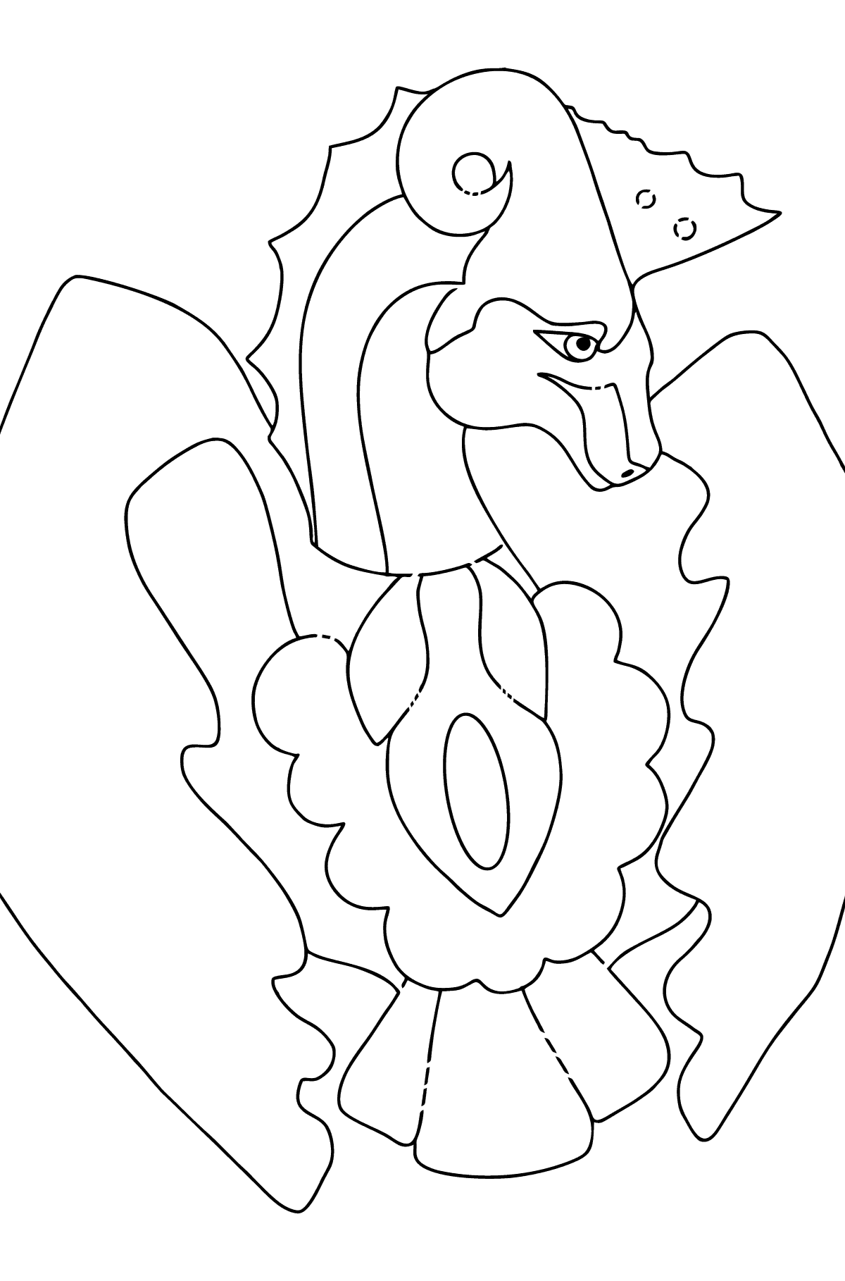 Coloring Page - A Dragon is Sad - Coloring Pages for Children