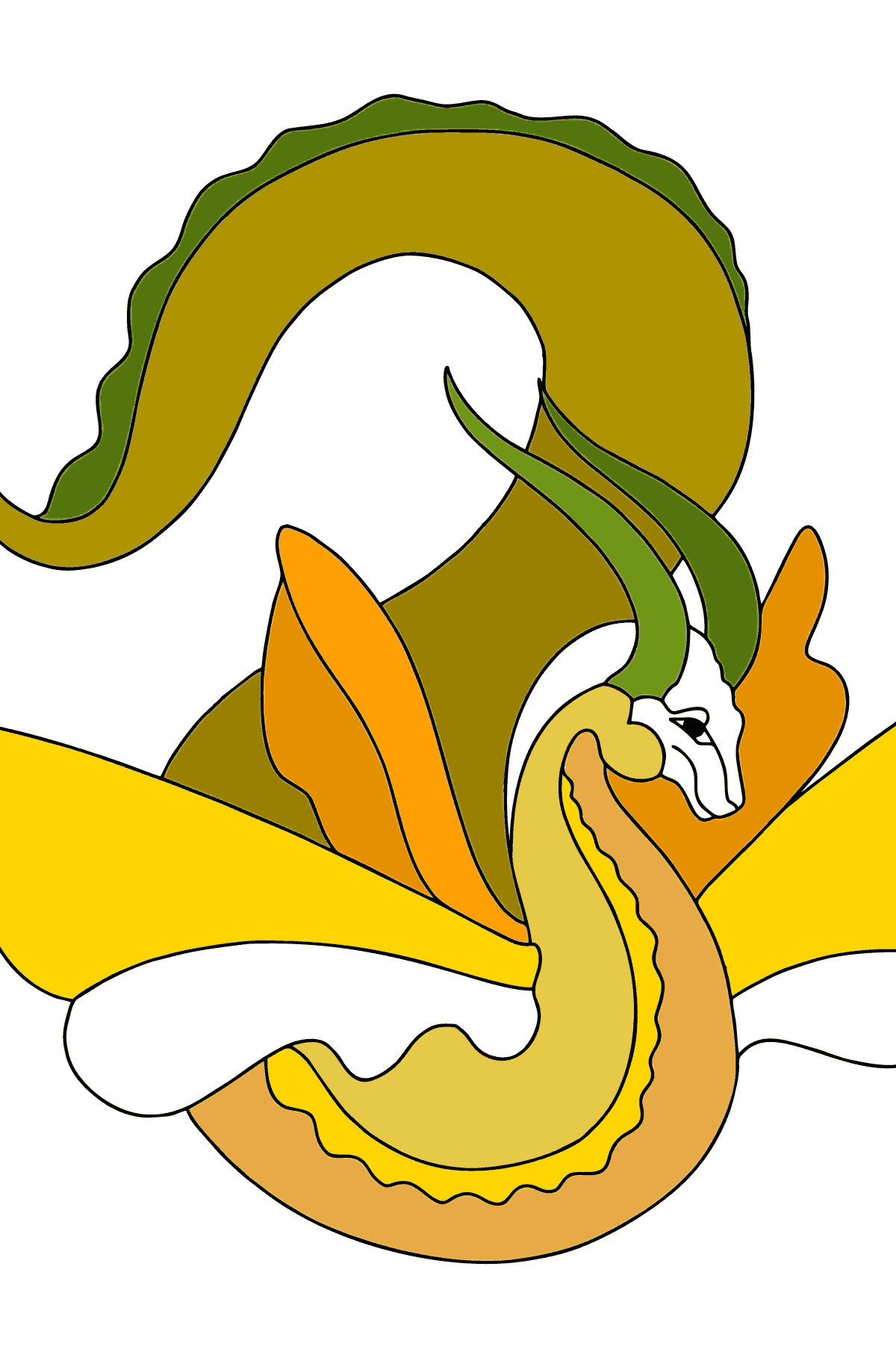 Coloring Page - A Dragon is Smiling for Kids
