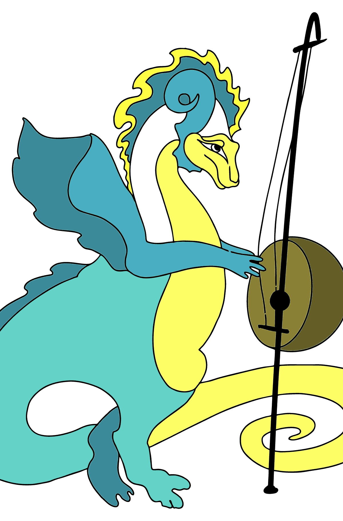 Coloring Page - A Dragon Loves Music - Coloring Pages for Children