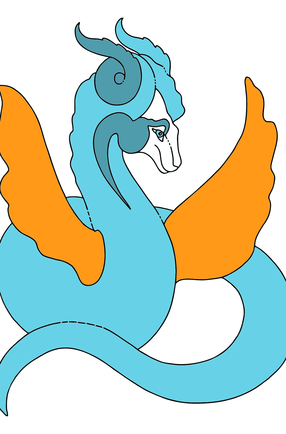 Coloring Page - A Dragon of the Aquamarine Color for Children