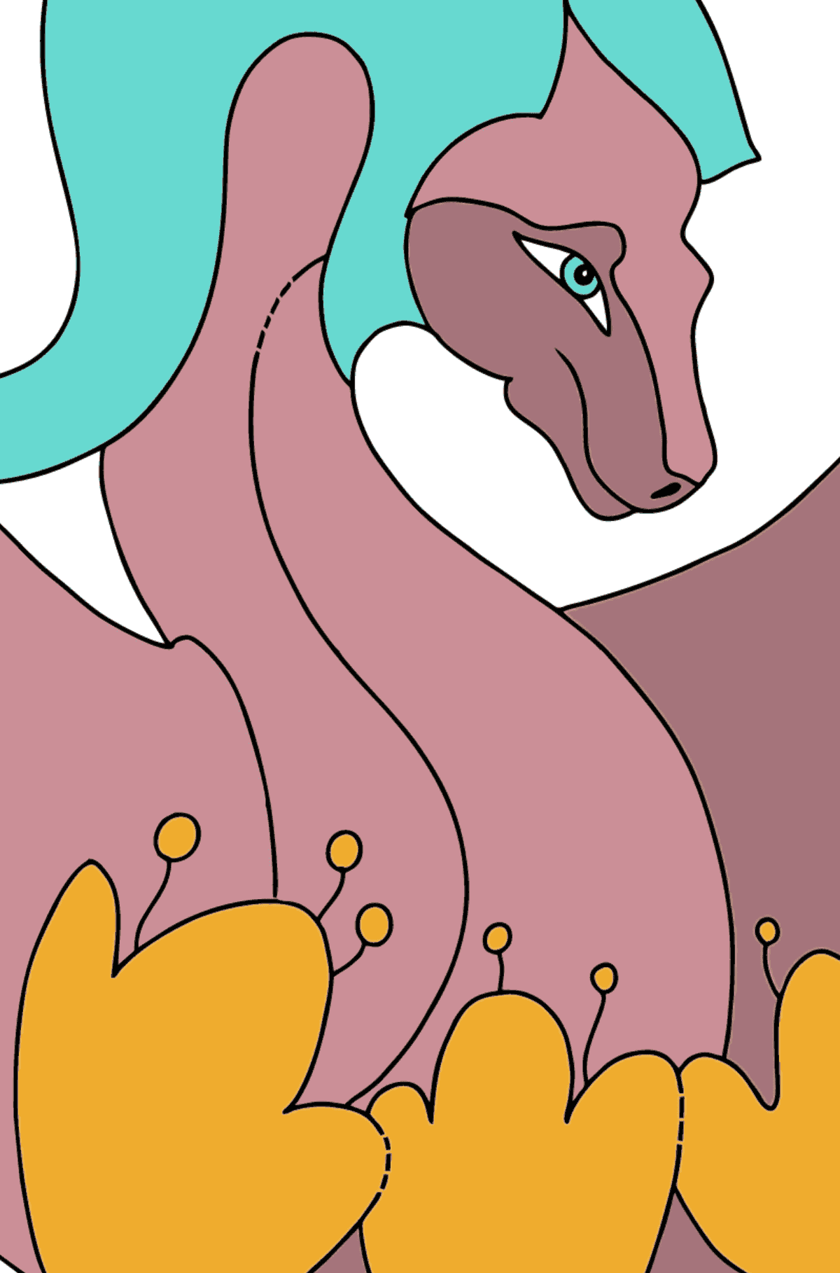Coloring Page - A Dragon of the Violet Color - Math Coloring - Addition for Kids
