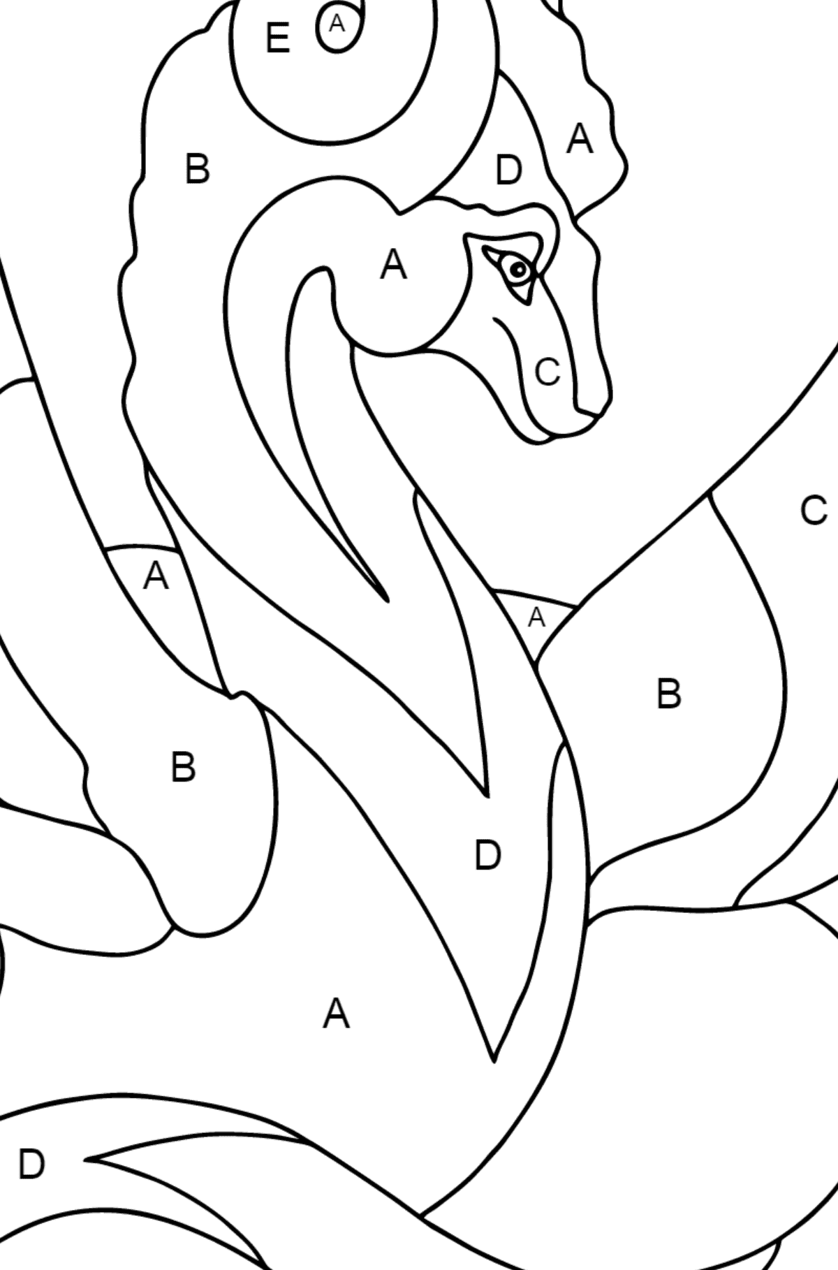 Coloring Page - A Dragon with a Long Multicolored Tail - Coloring by Letters for Kids