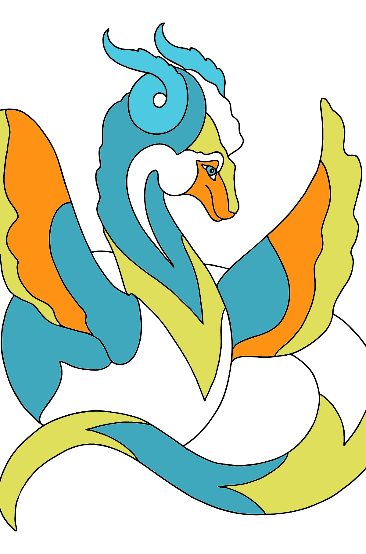 Coloring Page - A Dragon with a Long Multicolored Tail - Coloring Pages for Children