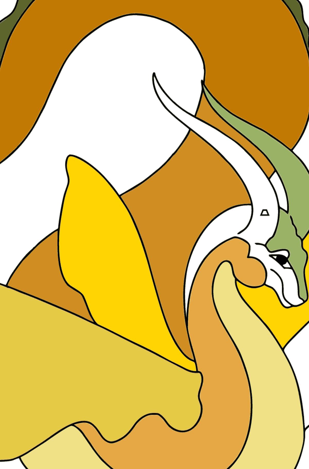 Ausmalseite - Ein Drache mit orangefarbenem Schwanz - Ausmalen nach Geometrischen Formen für Kinder