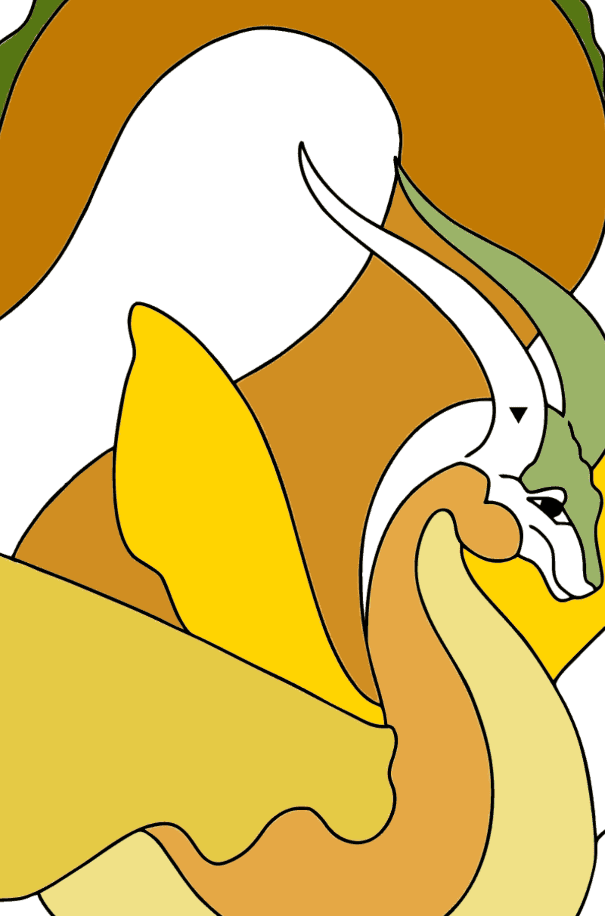 Coloring Page - A Dragon with an Orange Tail - Coloring by Symbols for Children